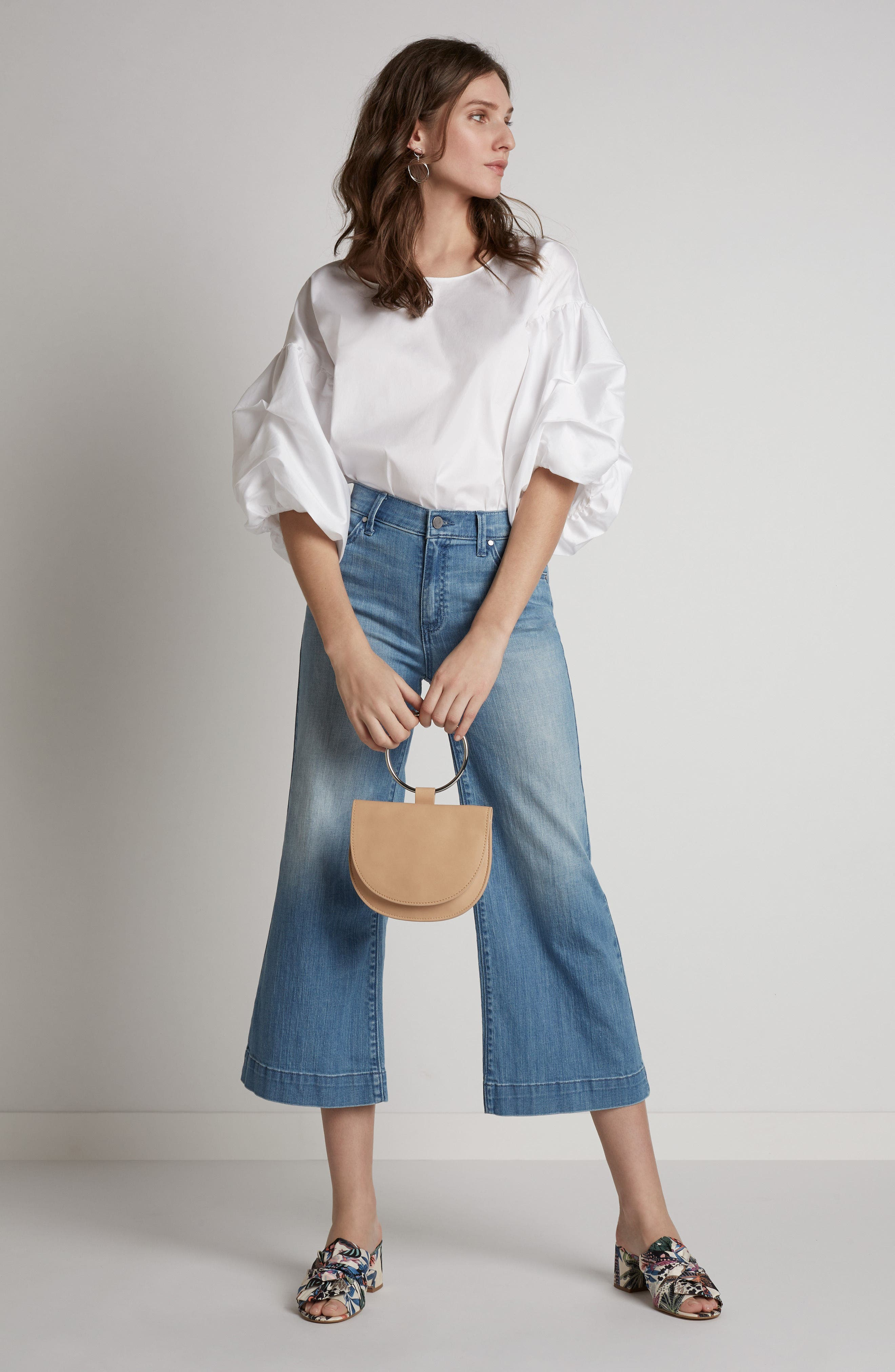 Wide Leg Cropped Jeans,                             Alternate thumbnail 10, color,
