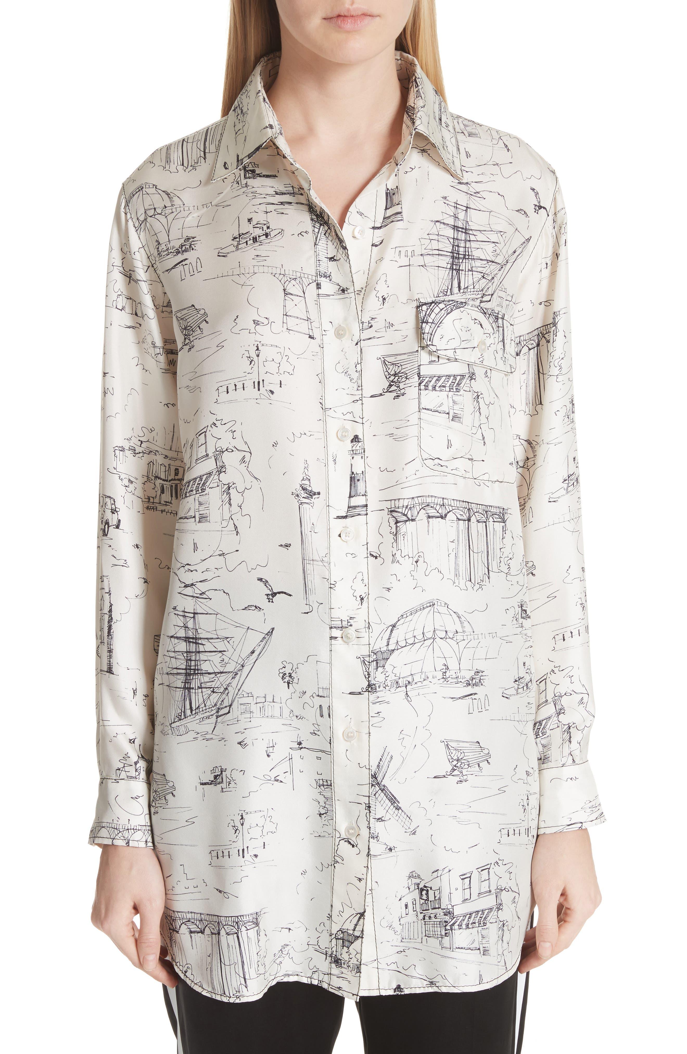 Chava Sketch Silk Shirt,                             Main thumbnail 1, color,                             Off White