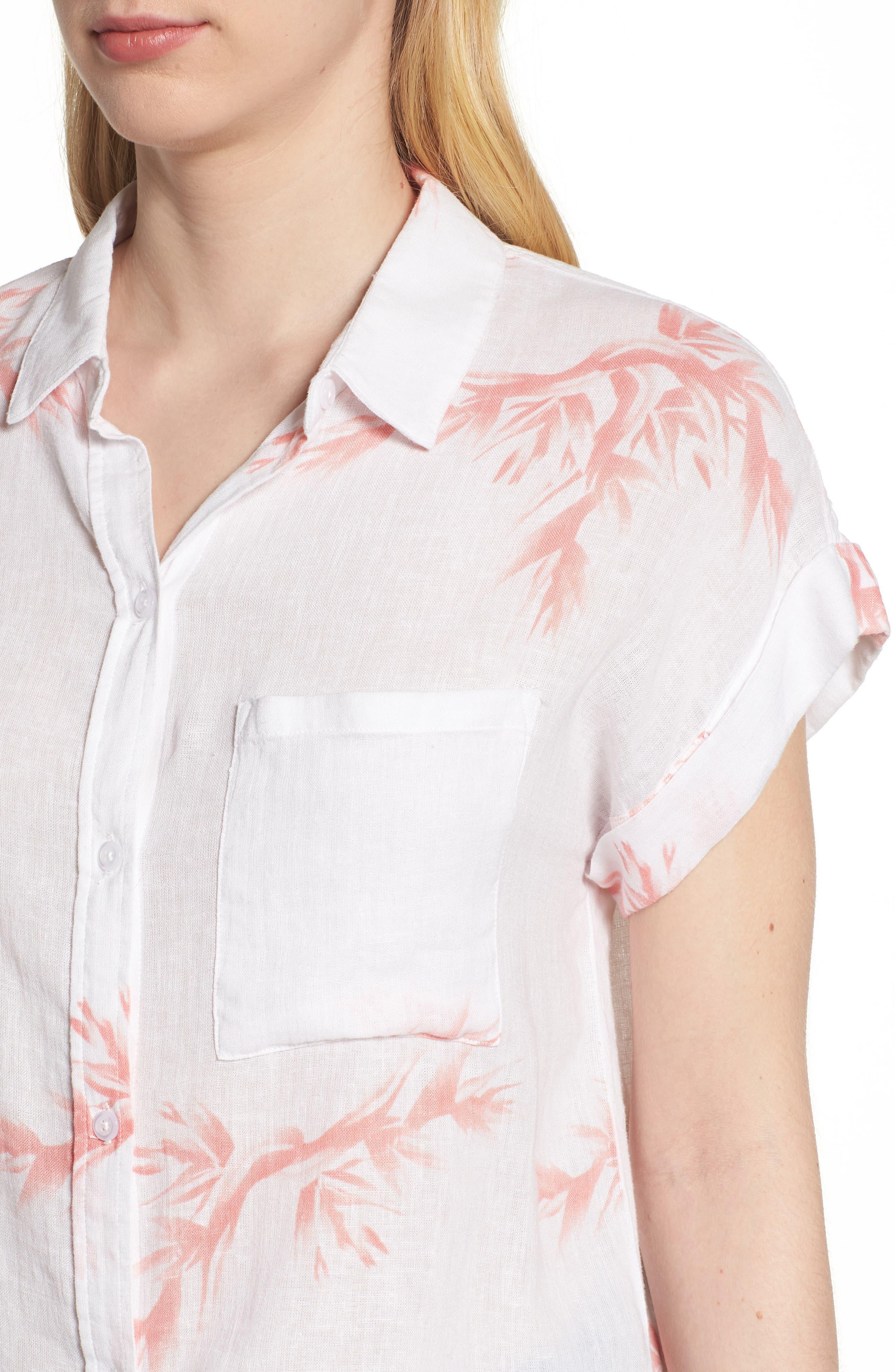 Whitney Birds of Paradise Linen Blend Shirt,                             Alternate thumbnail 4, color,                             Blush Birds Of Paradise