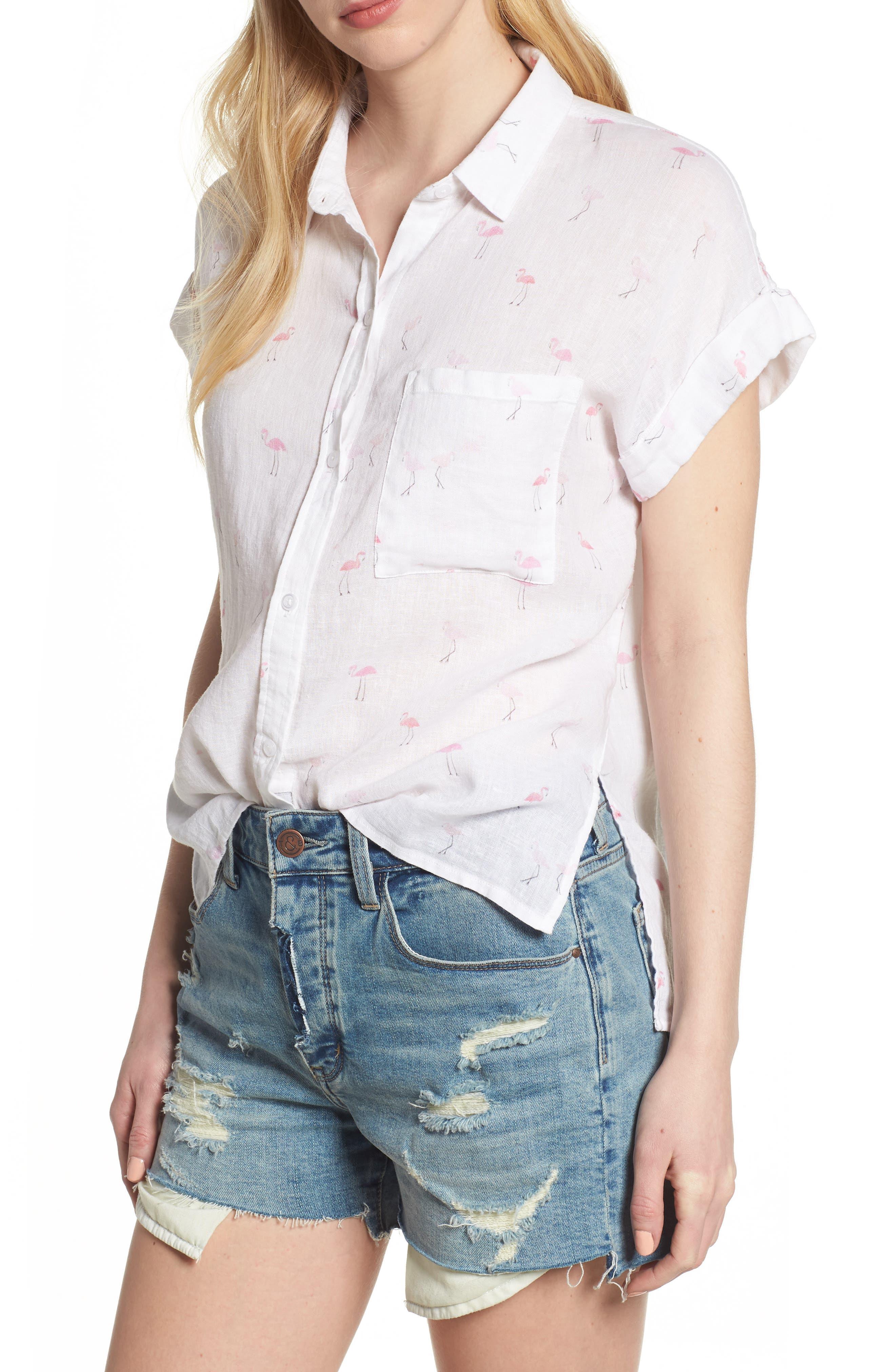Whitney Flamingo Print Linen Blend Shirt,                         Main,                         color, Flamingos