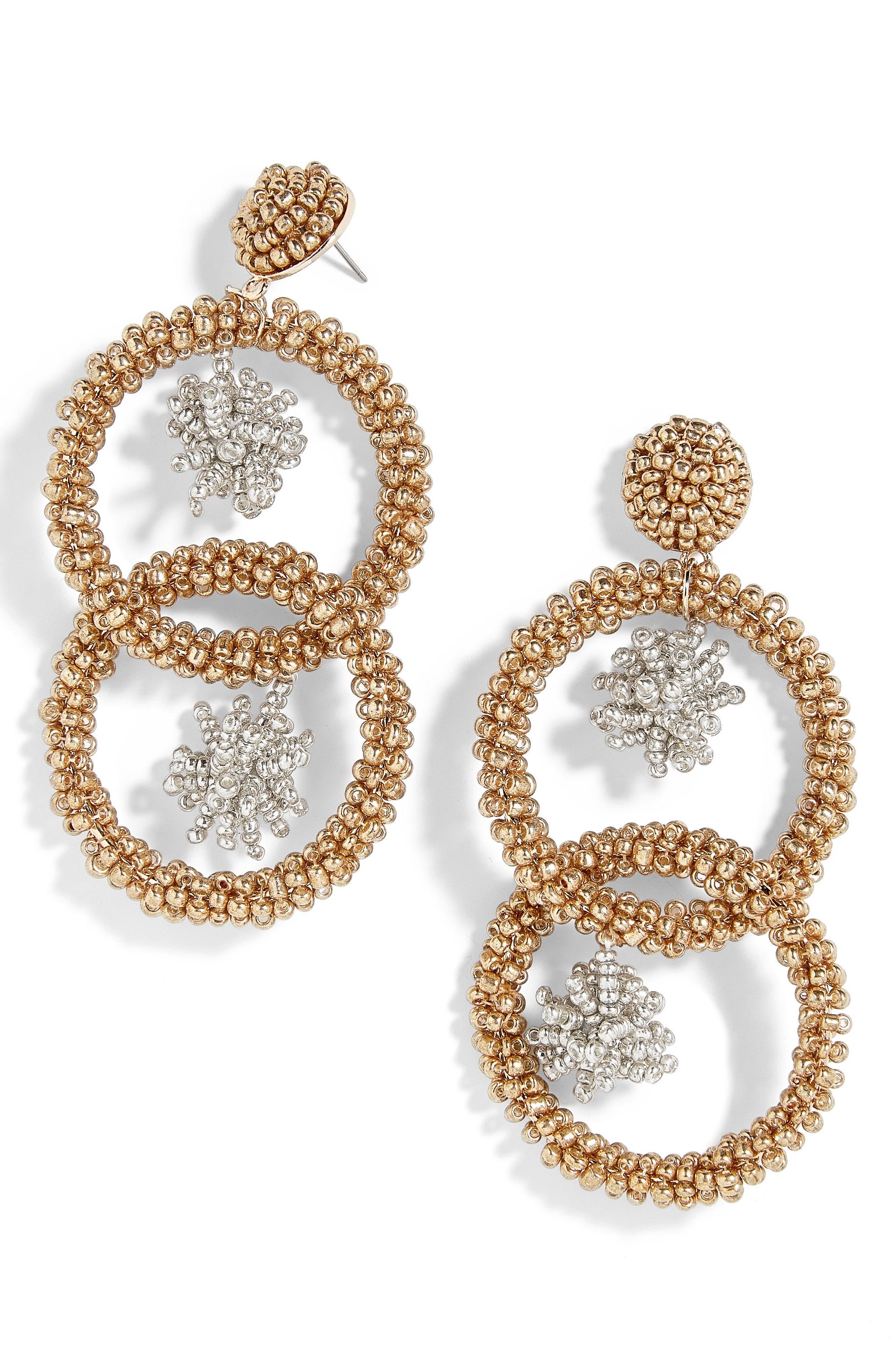Miyana Beaded Hoop Drop Earrings,                         Main,                         color, Gold