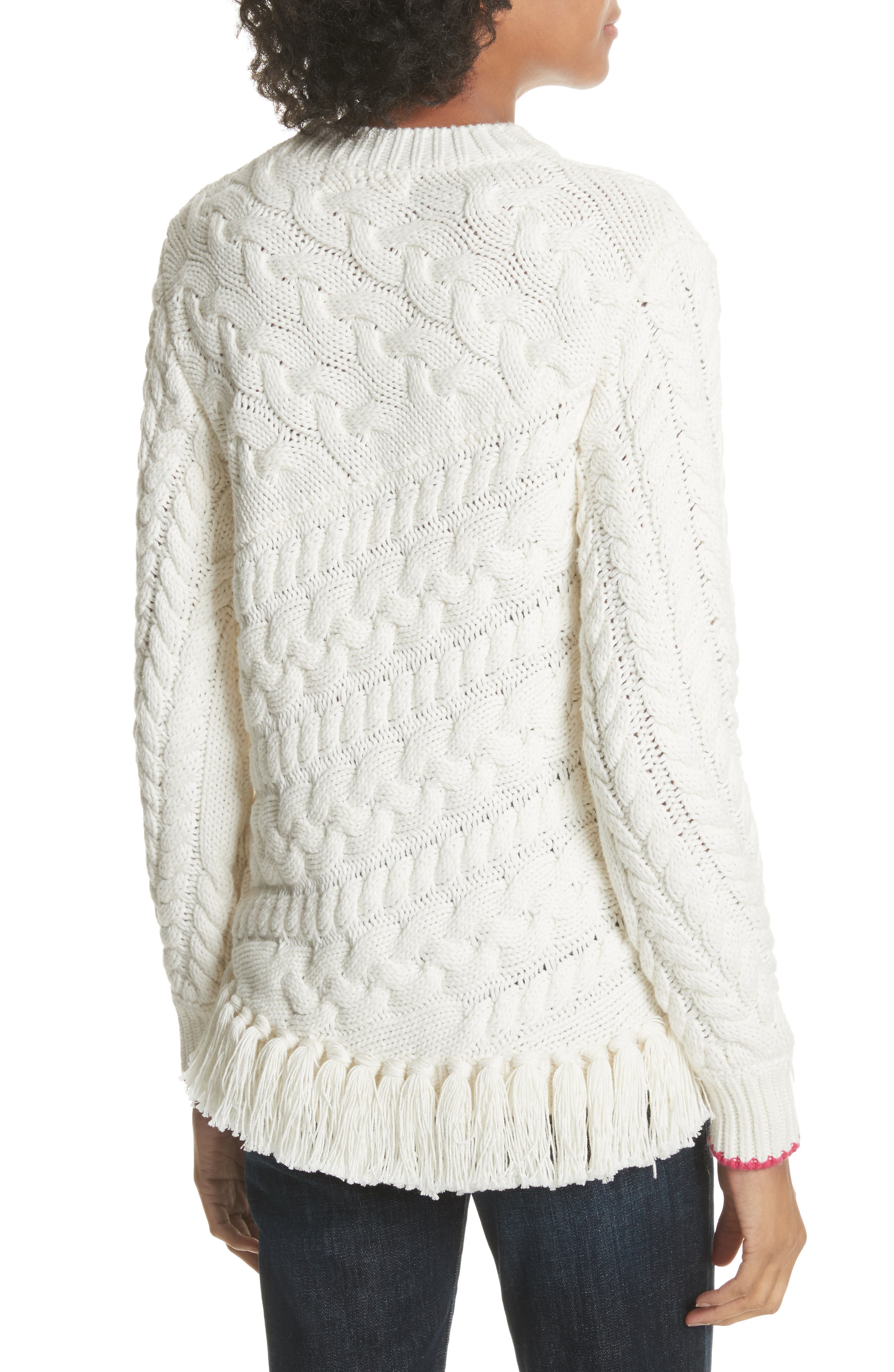 Colour by Numbers Jaia Fringe Sweater,                             Alternate thumbnail 2, color,                             White