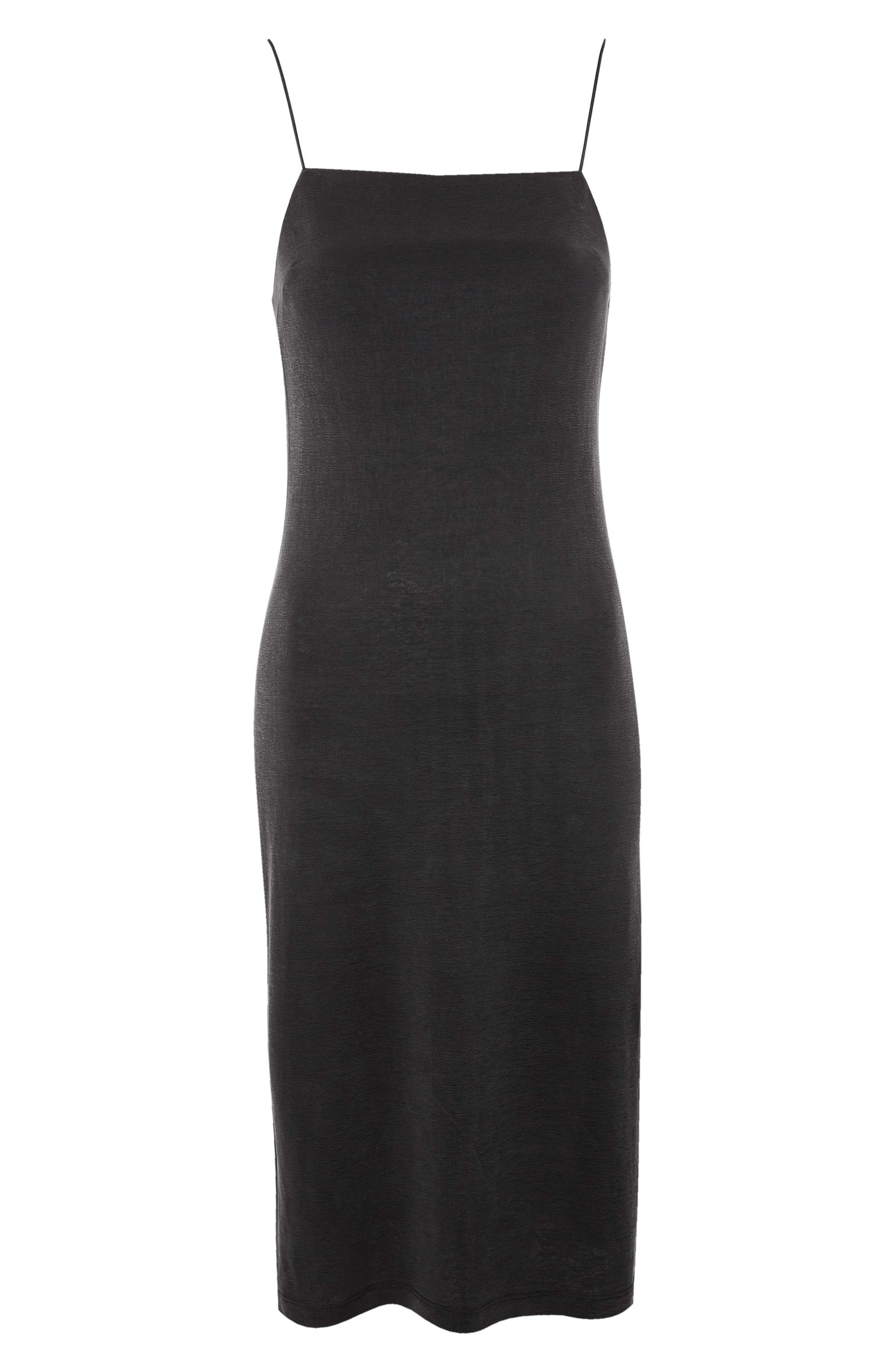 Square Neck Slipdress,                             Alternate thumbnail 4, color,                             Black
