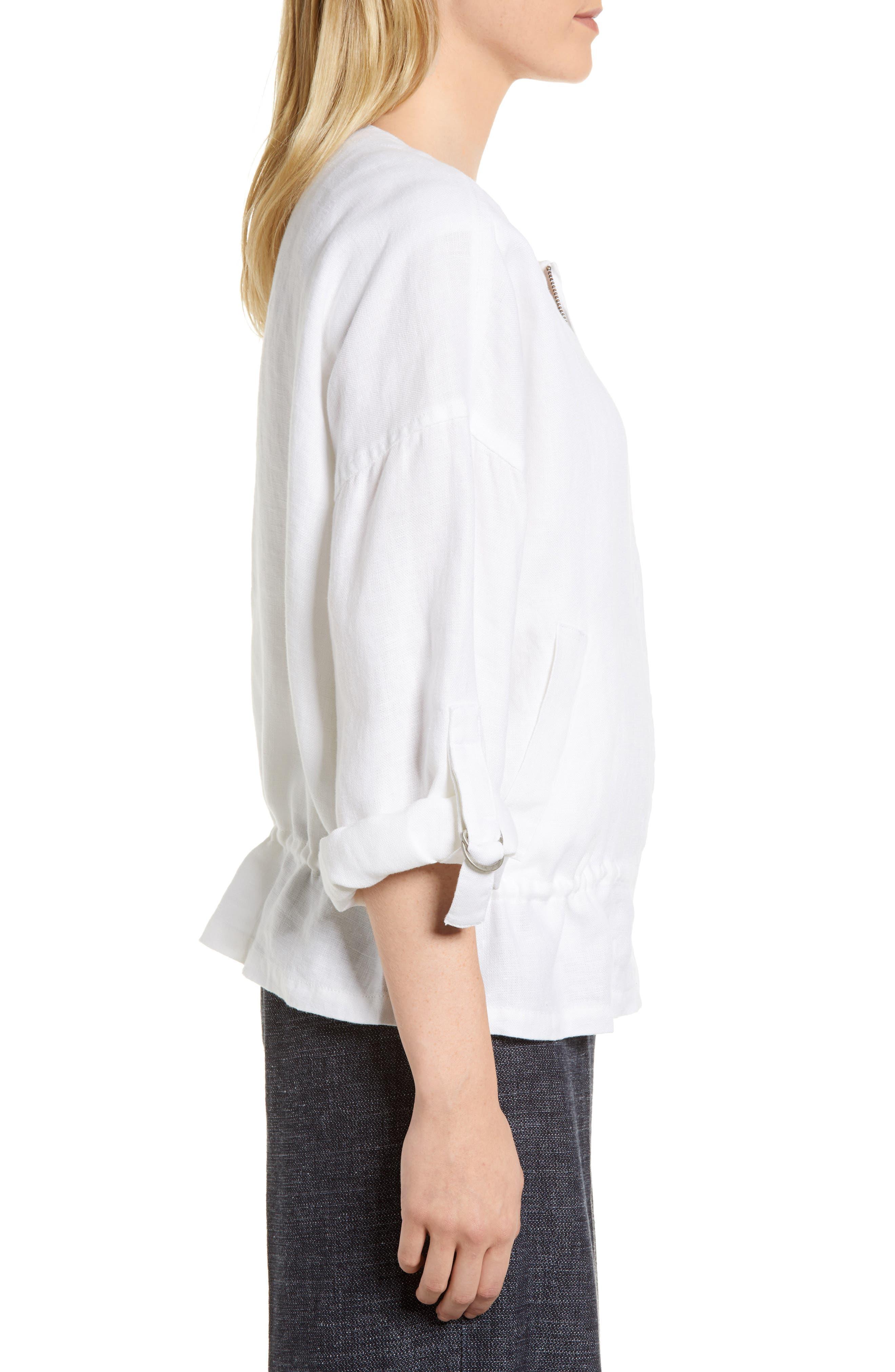 Drawstring Organic Linen Jacket,                             Alternate thumbnail 3, color,                             White