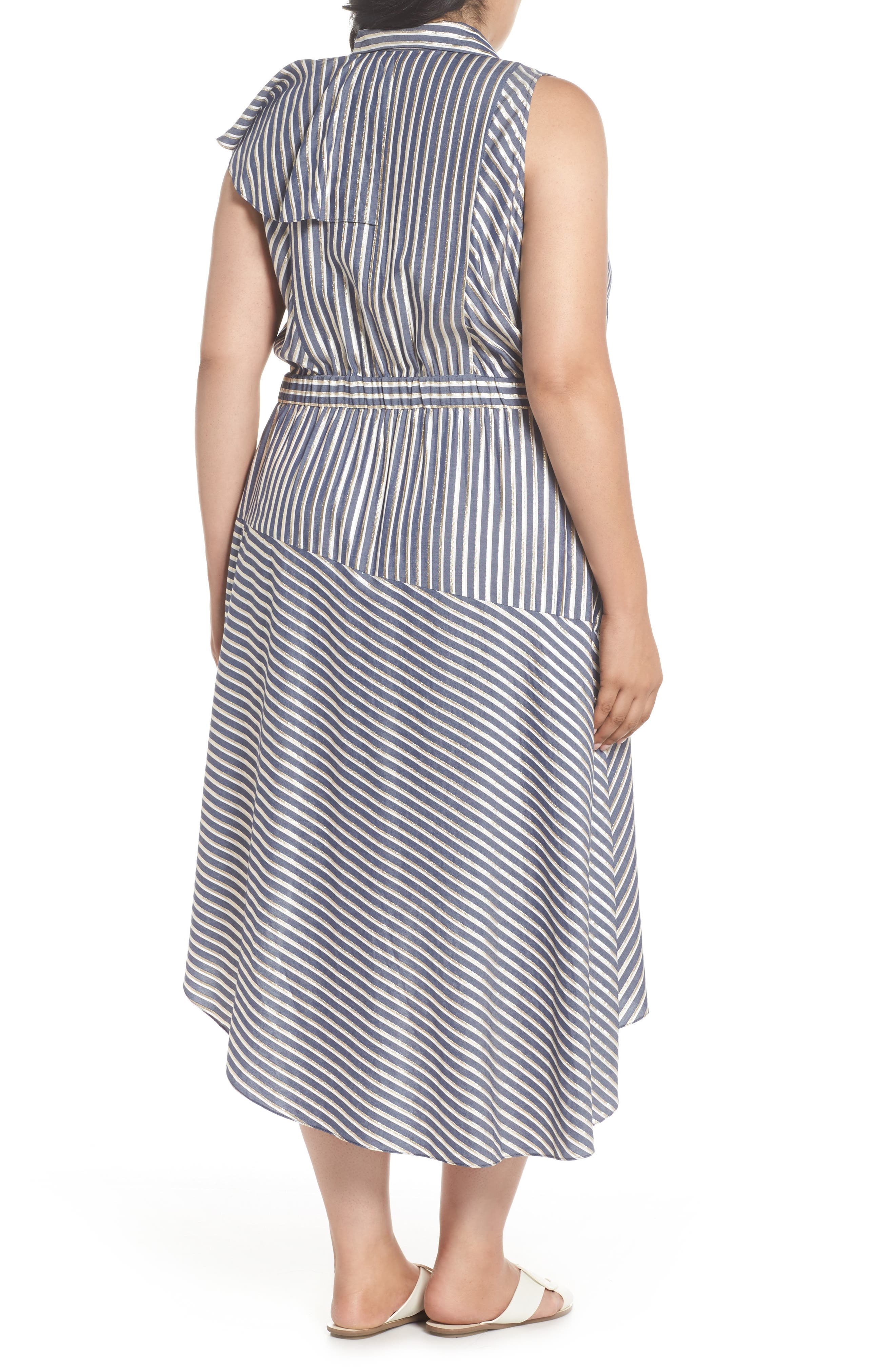 Stripe Asymmetrical Ruffle Shirtdress,                             Alternate thumbnail 3, color,                             True Navy Combo