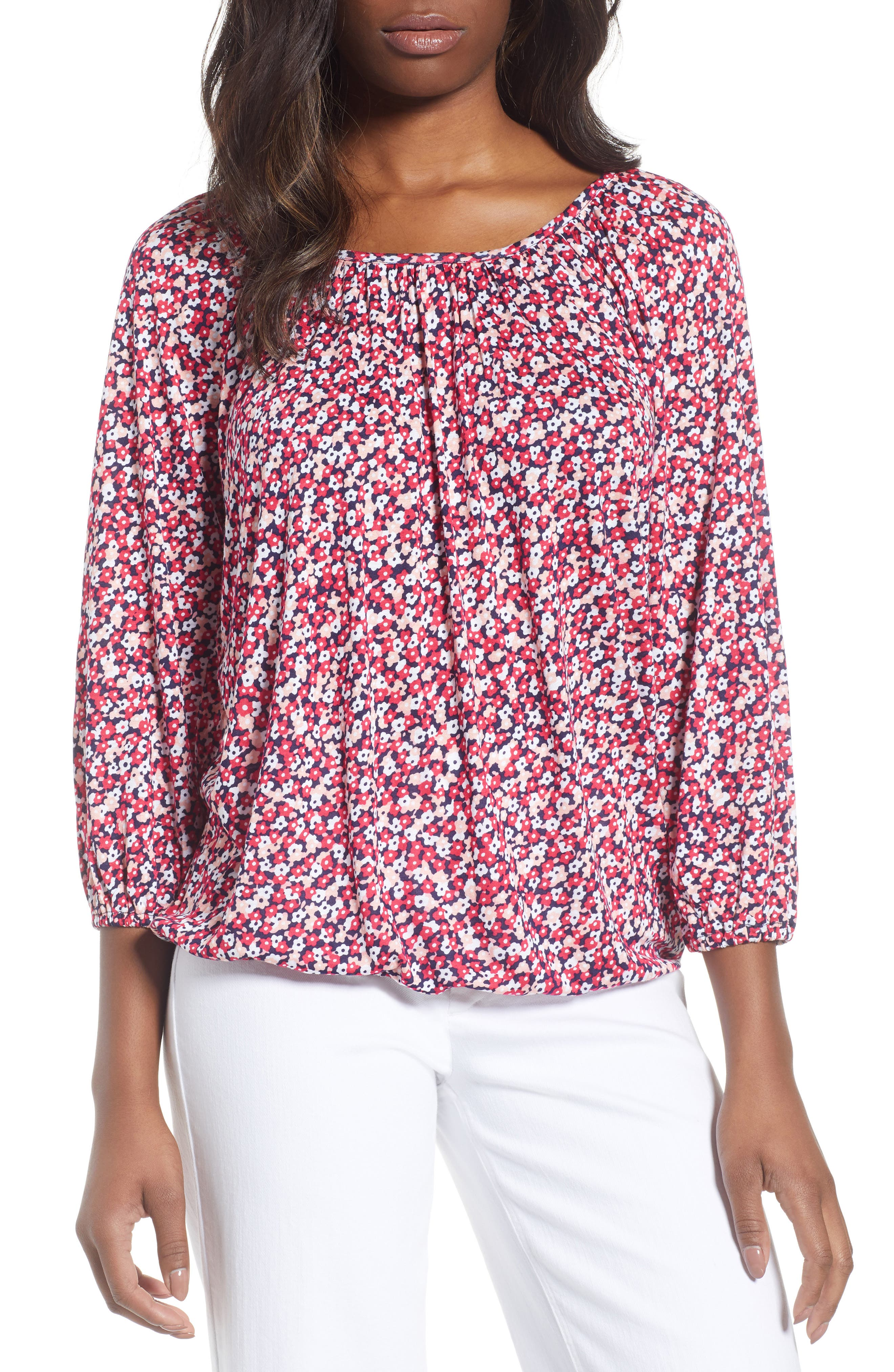Collage Floral Print Peasant Top,                         Main,                         color, True Navy/ Bright Blush