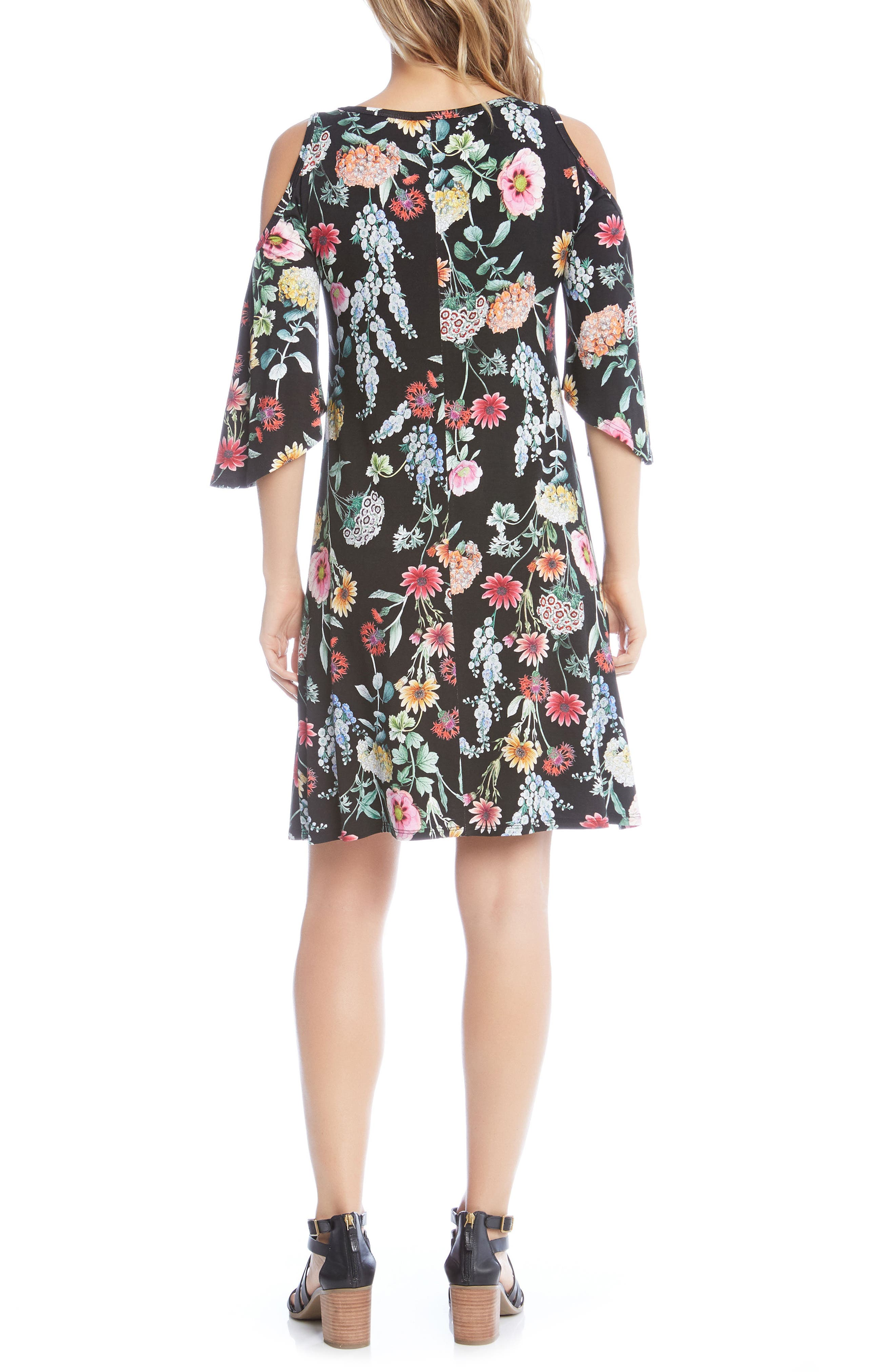 Cold Shoulder A-Line Dress,                             Alternate thumbnail 3, color,                             Floral