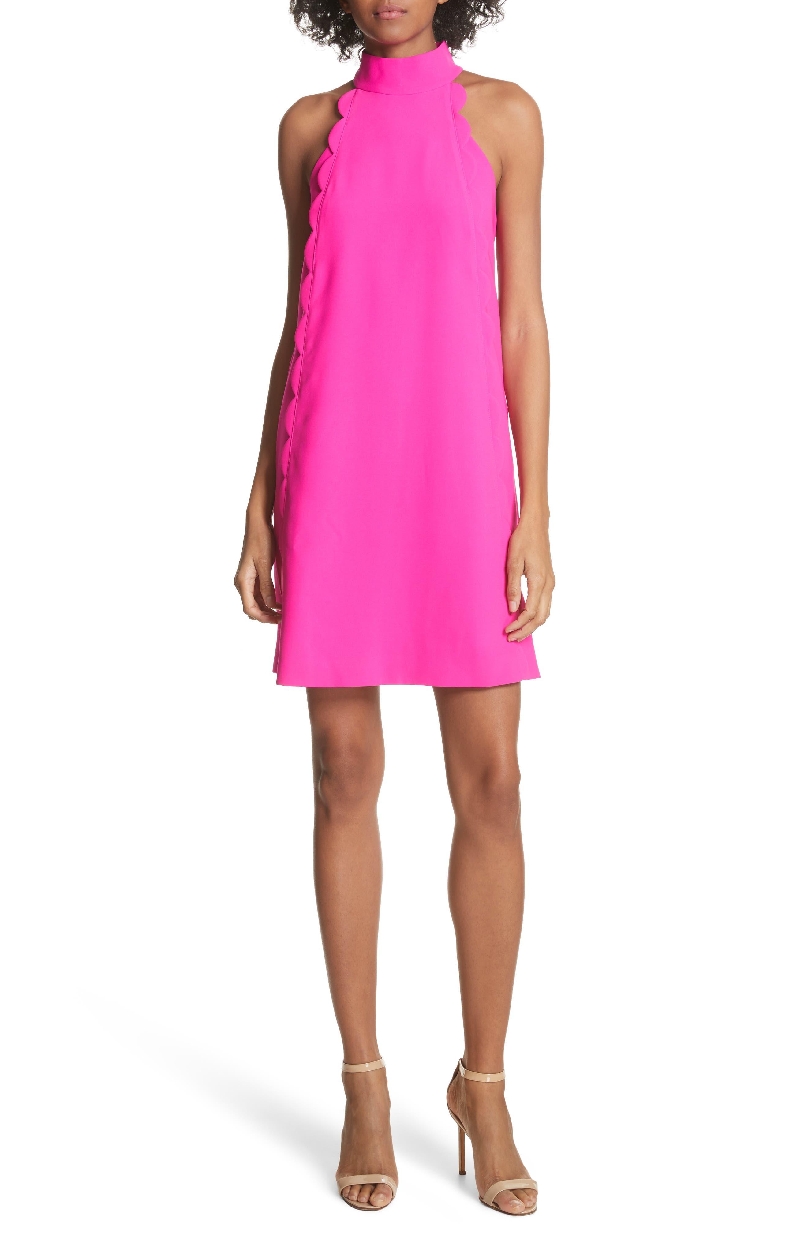 Torrii High Neck Tunic Dress,                             Main thumbnail 1, color,                             Bright Pink