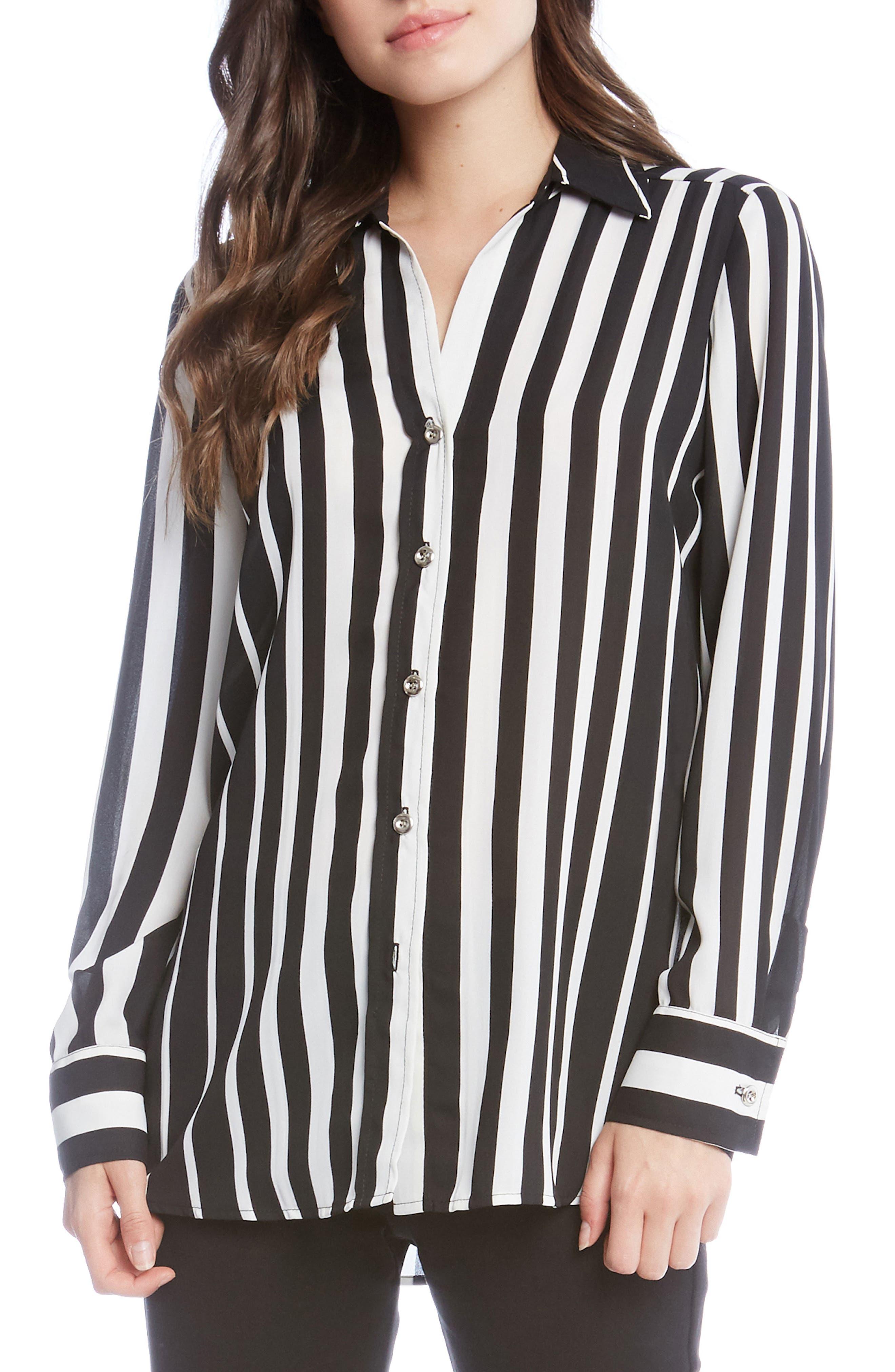 Side Slit Stripe Shirt,                             Main thumbnail 1, color,                             Striped