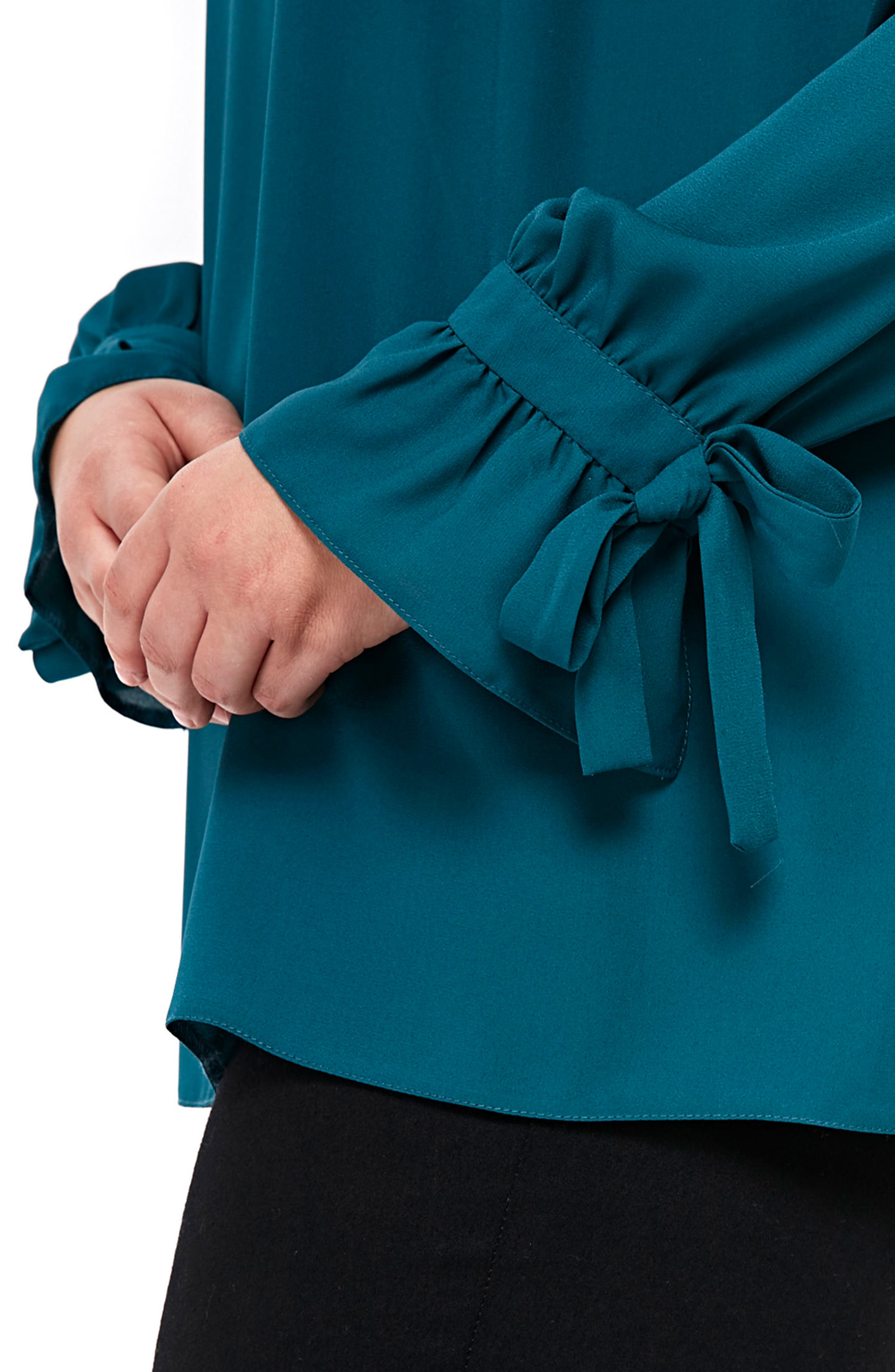 Tie Ruffle Cuff Top,                             Alternate thumbnail 3, color,                             Teal
