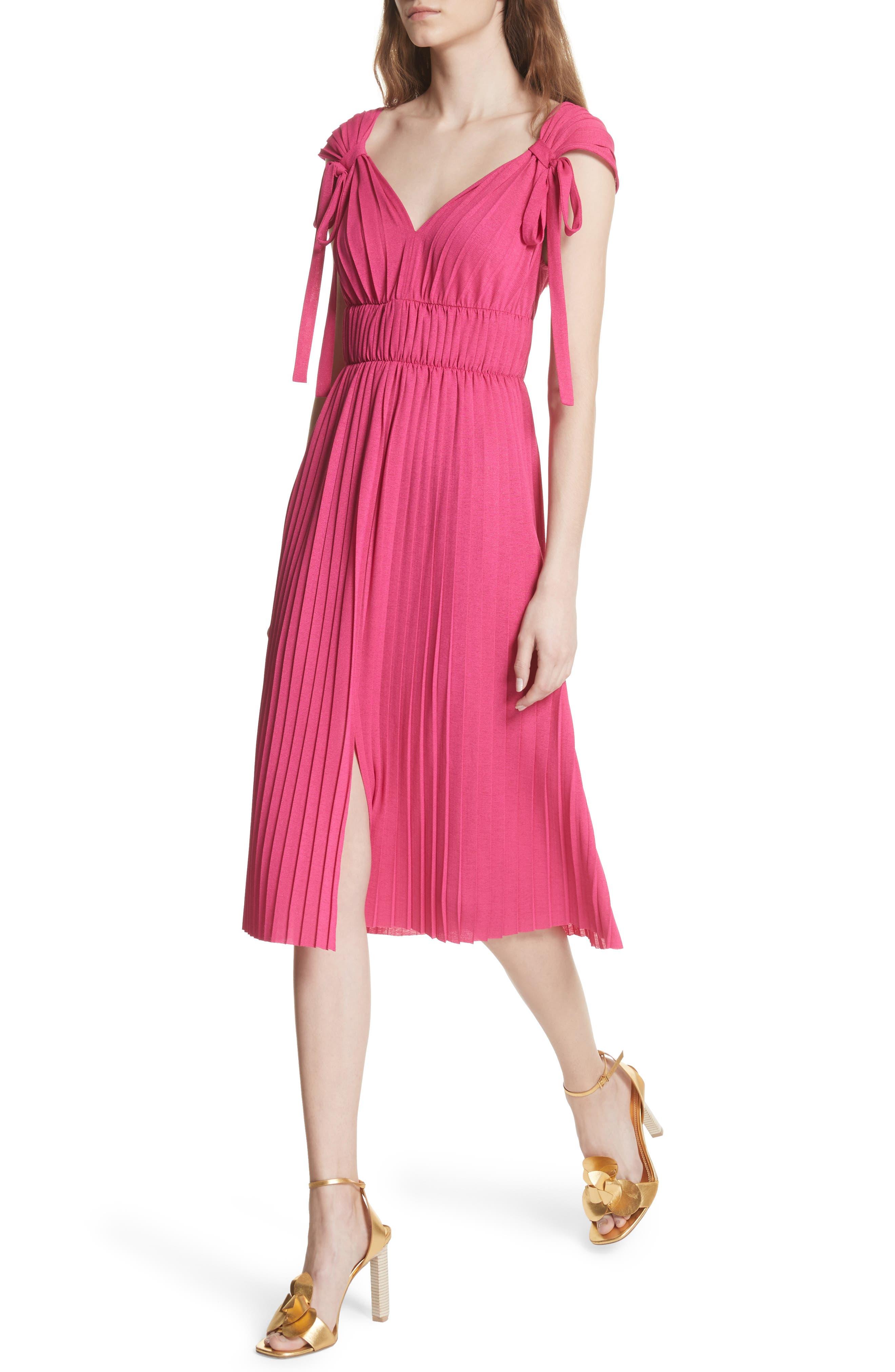 Grecian Pleat Dress,                             Alternate thumbnail 4, color,                             Cyclamen