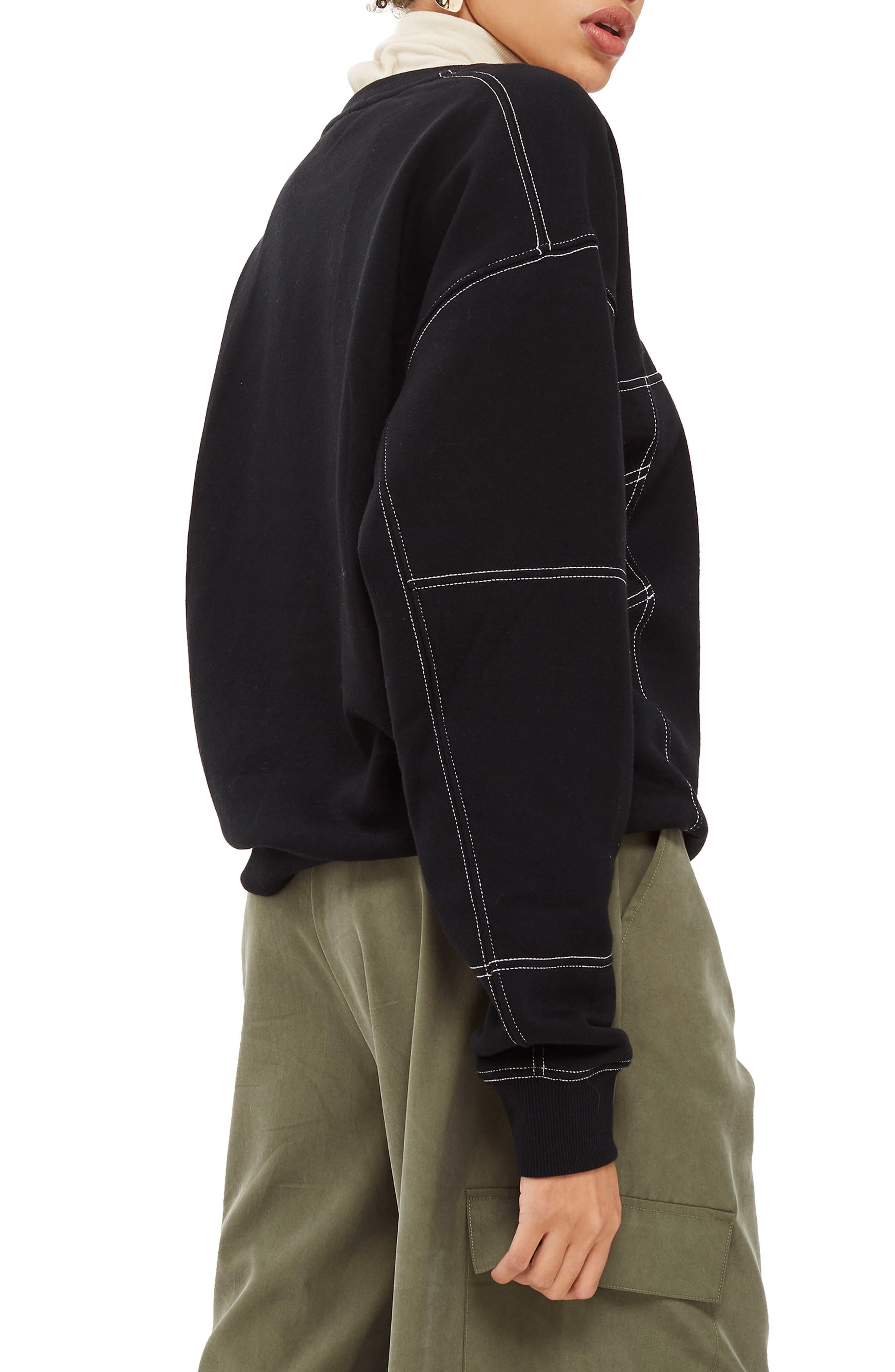Stab Stitch Detail Sweatshirt,                             Alternate thumbnail 3, color,                             Black