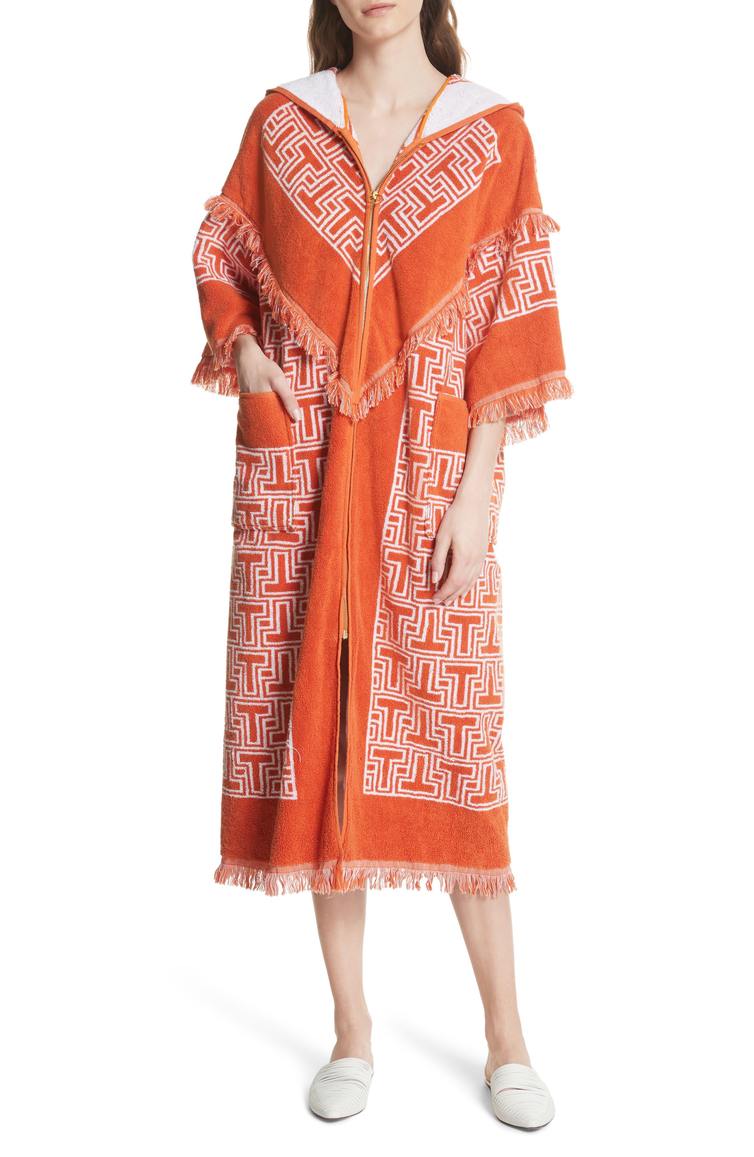 Tile T Terry Coat,                             Main thumbnail 1, color,                             Orange Towel Jacquard