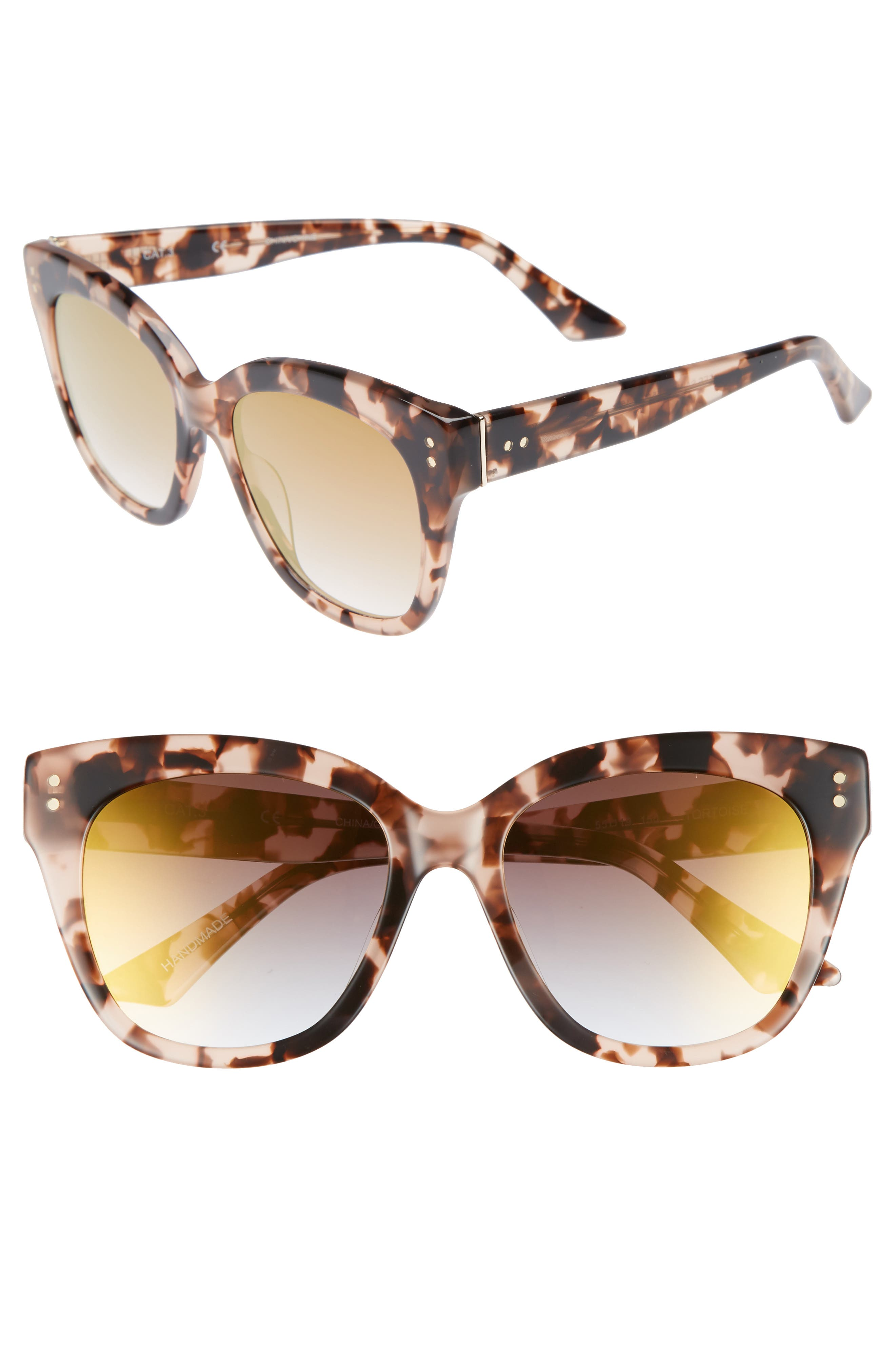 See Saw 55mm Cat Eye Sunglasses,                             Main thumbnail 1, color,                             Dogwood- Gold