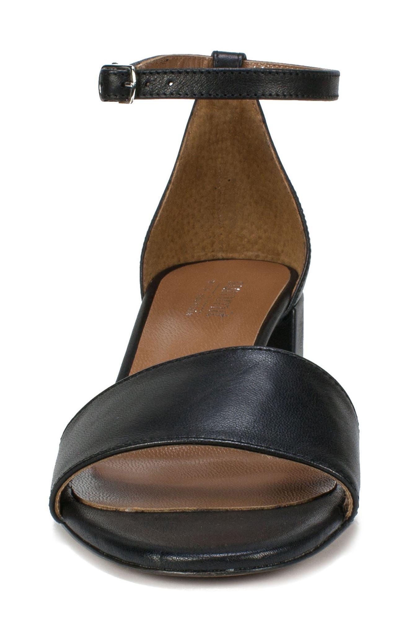 Ameila Block Heel Sandal,                             Alternate thumbnail 4, color,                             Black Leather