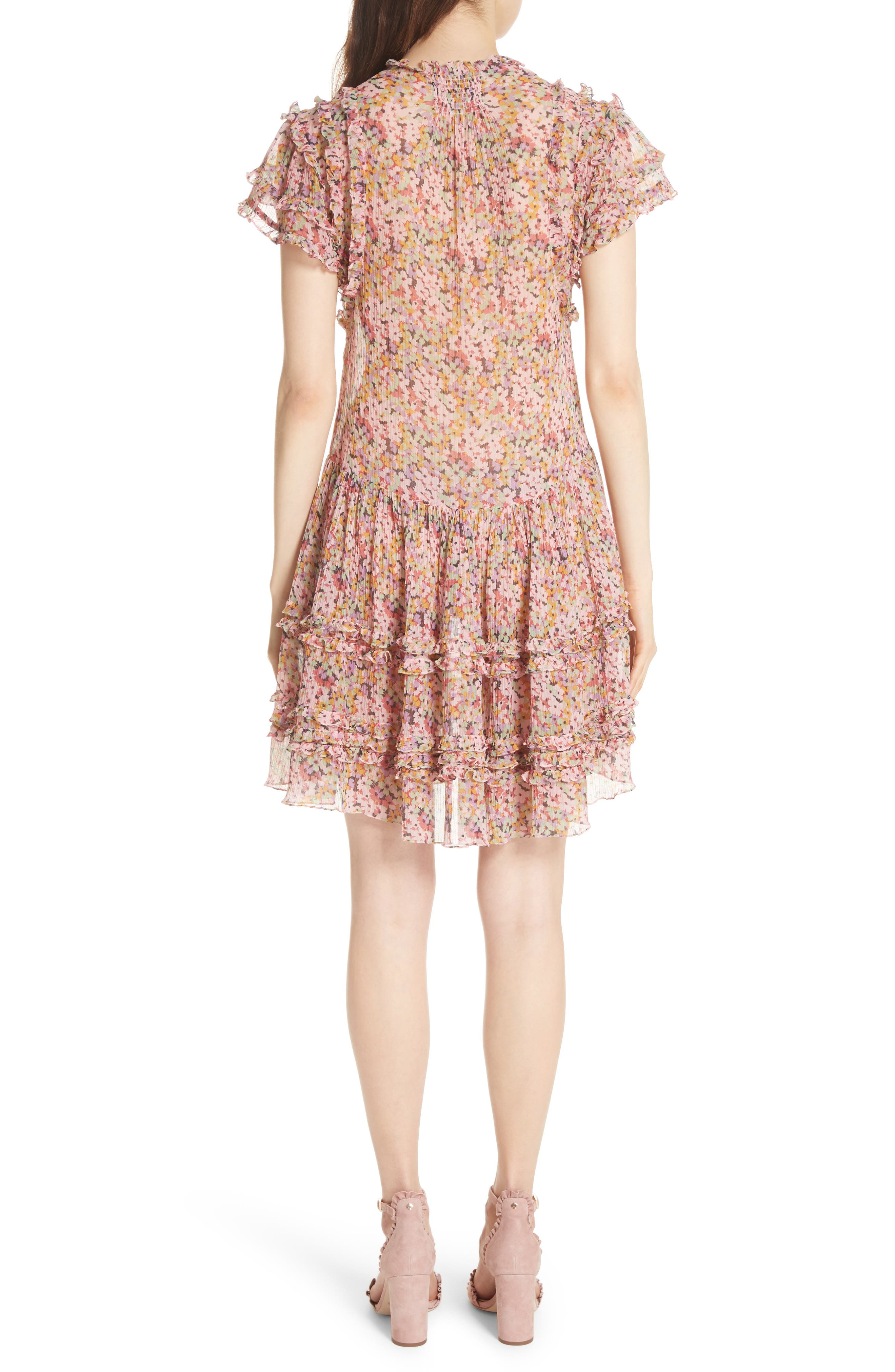 Alternate Image 2  - Rebecca Taylor Margo Ruffled Floral Drop Waist Dress