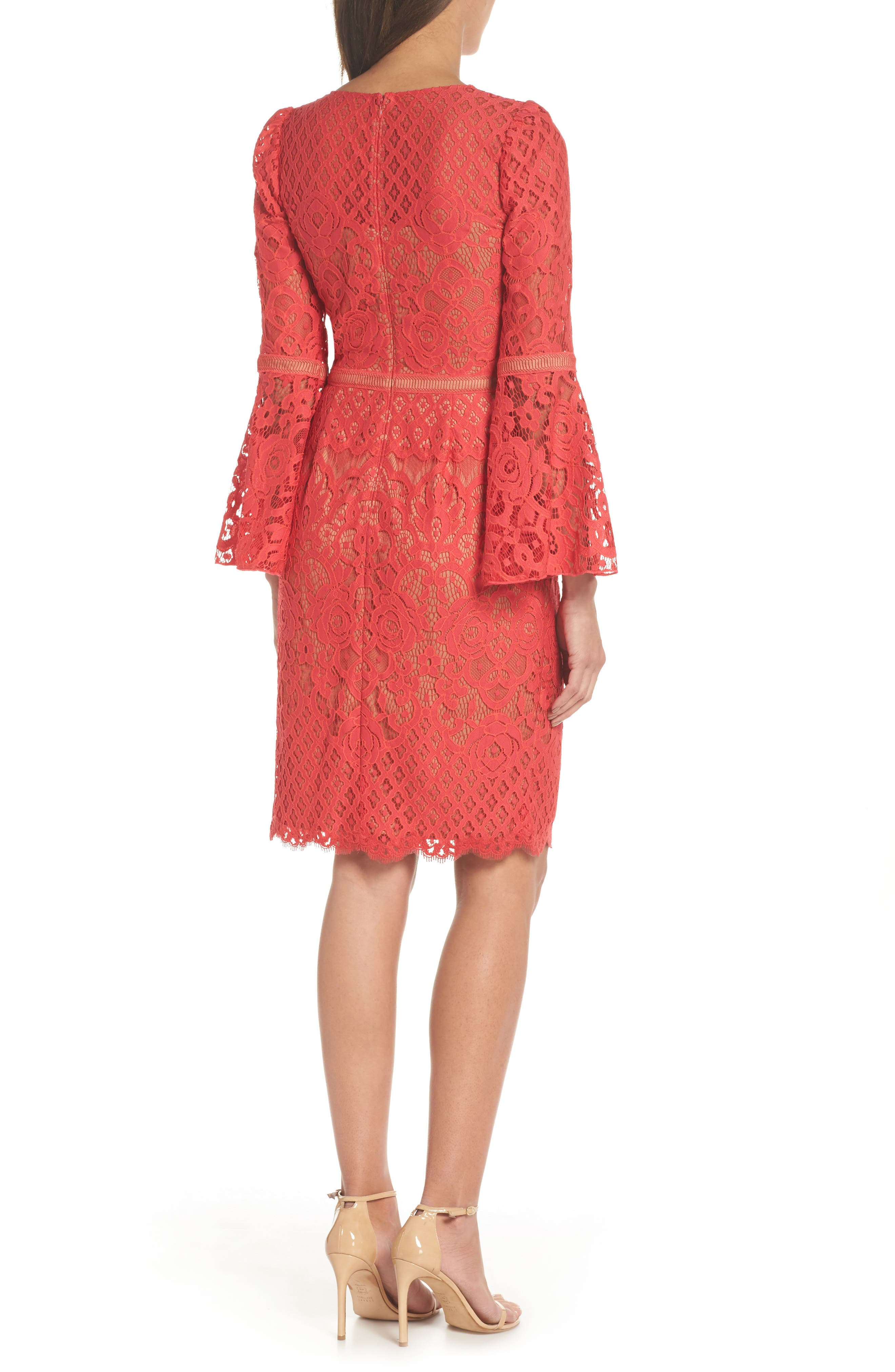 Kyra Bell Sleeve Lace Dress,                             Alternate thumbnail 2, color,                             Red/ Jasper