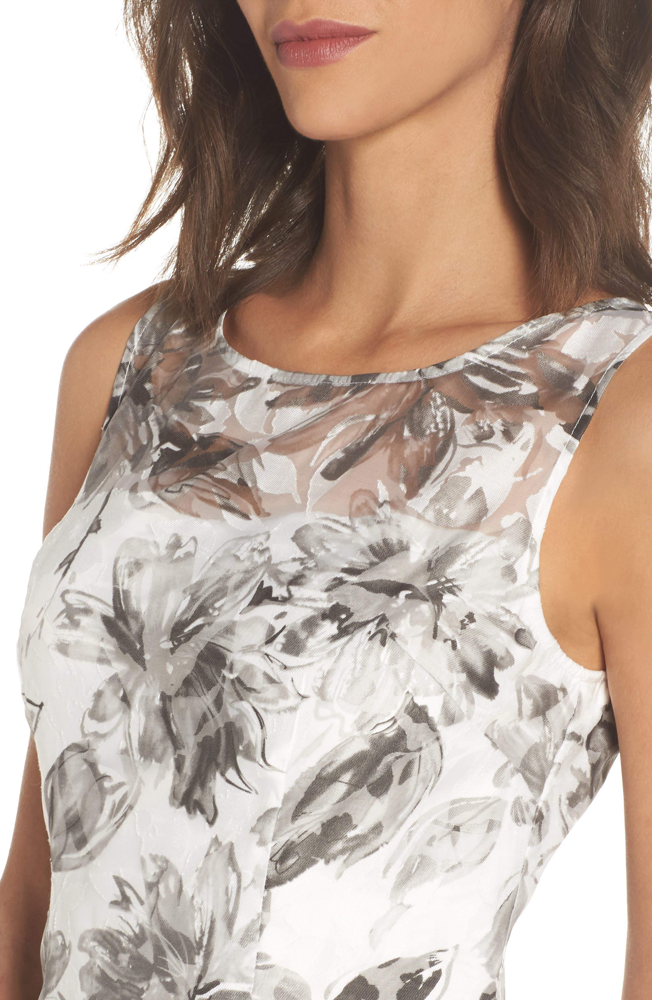 Burnout A-Line Dress,                             Alternate thumbnail 4, color,                             Black Multi