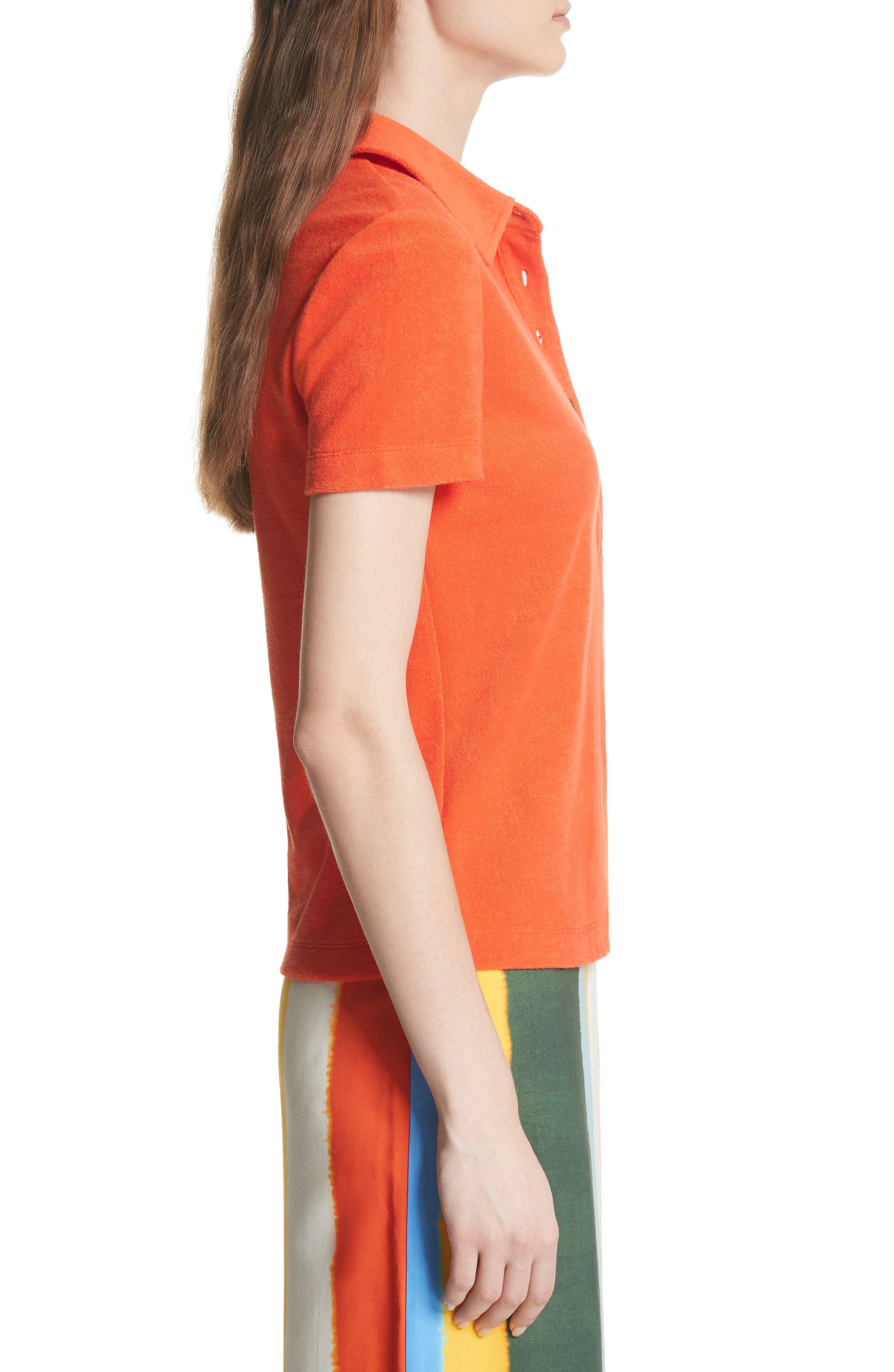 Lennox Terry Cloth Polo,                             Alternate thumbnail 3, color,                             Poppy Red