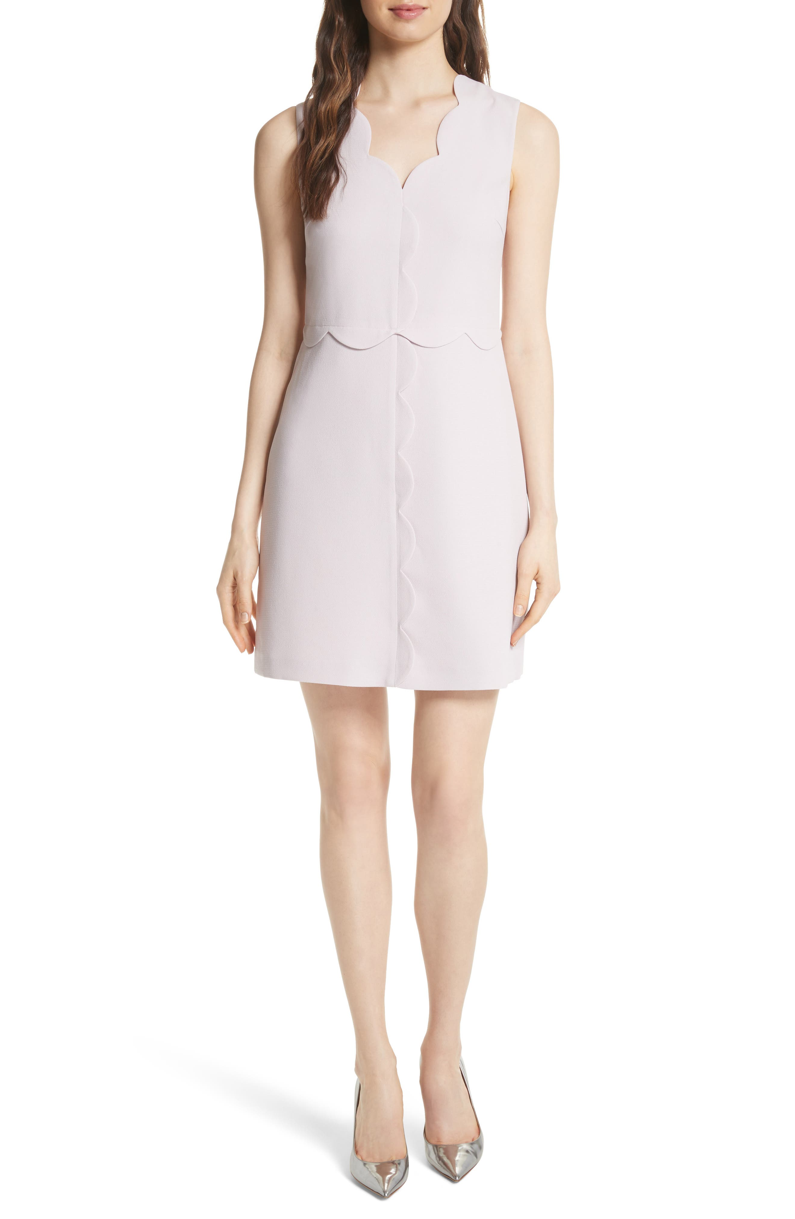 Scallop Edge Shift Dress,                             Main thumbnail 1, color,                             Dusky Pink