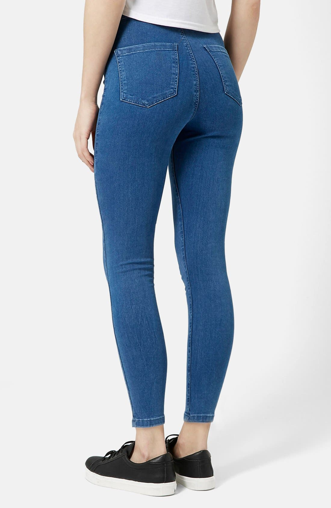 Alternate Image 2  - Topshop Moto 'Joni' High Rise Super Skinny Jeans (Mid Denim) (Petite)