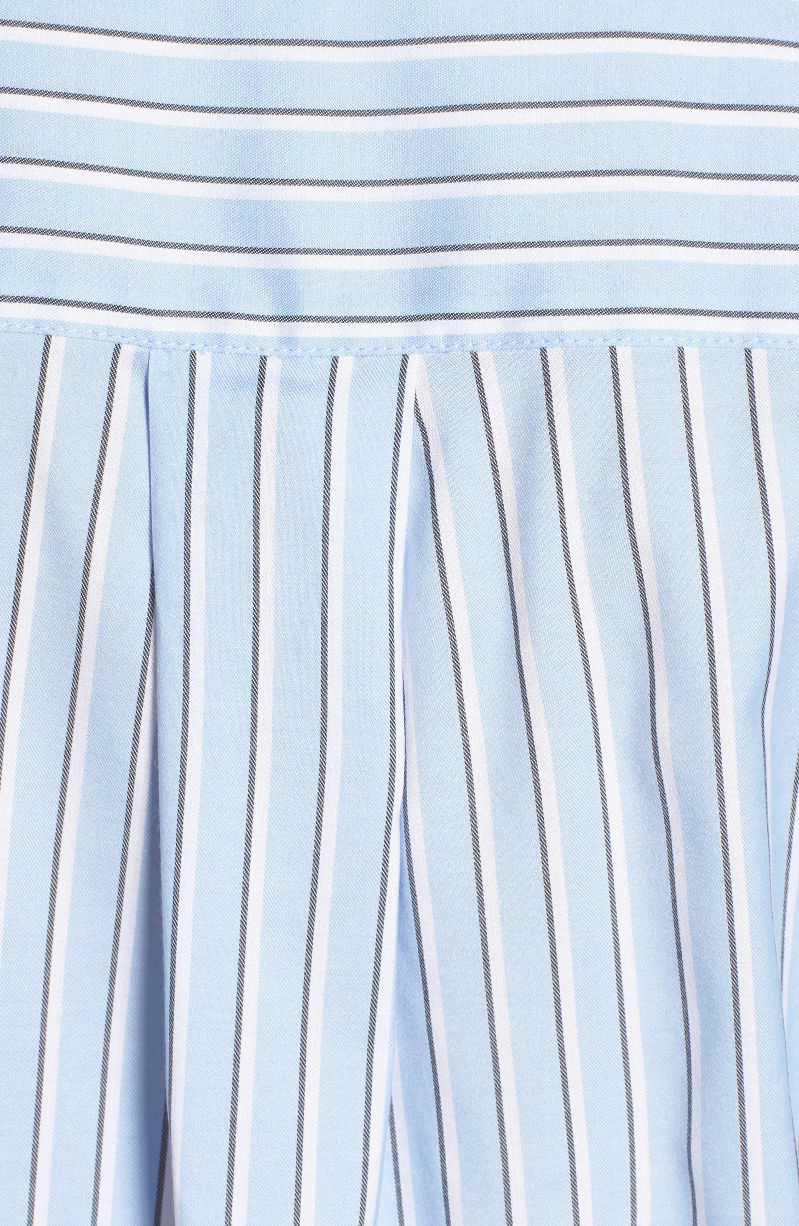 Stripe Button Front Shirt,                             Alternate thumbnail 5, color,                             Blue Brunnera Groove Stripe