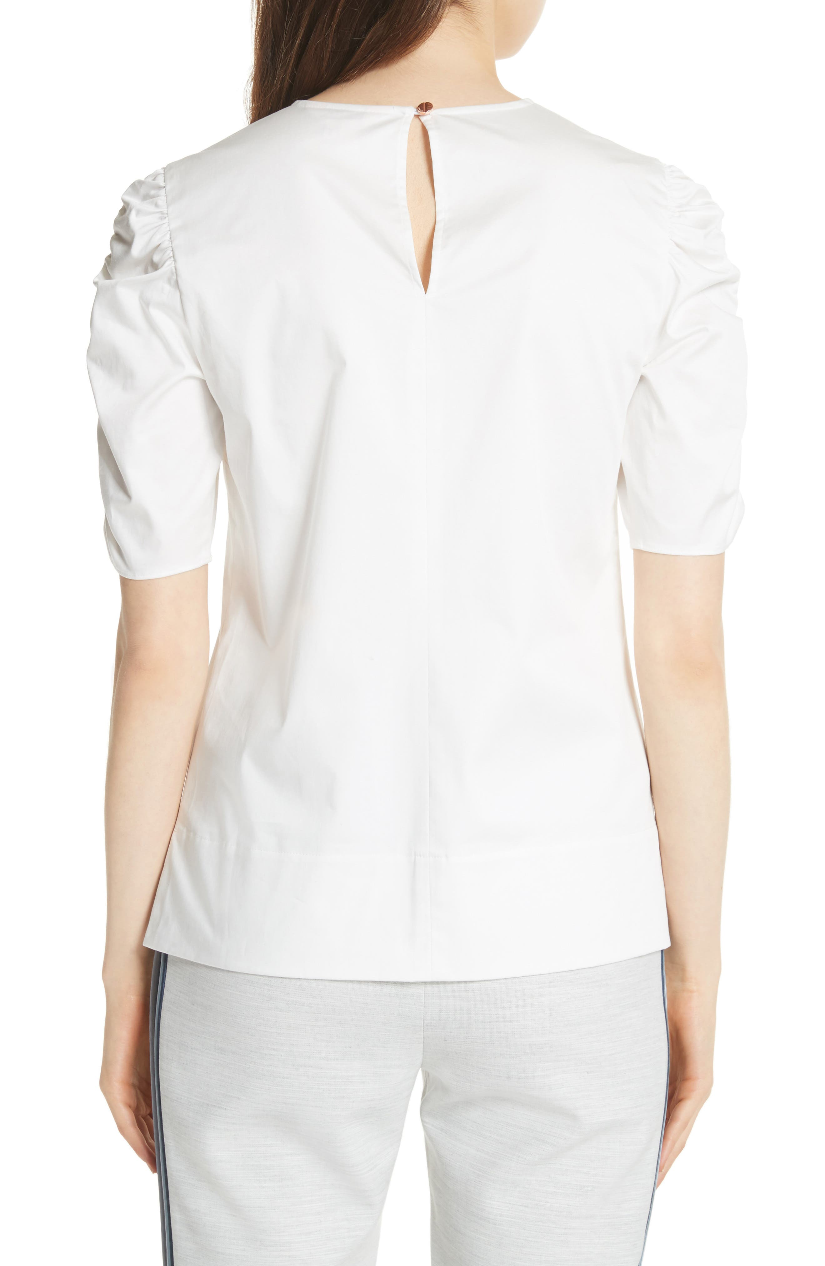 Ruched Sleeve Top,                             Alternate thumbnail 2, color,                             White