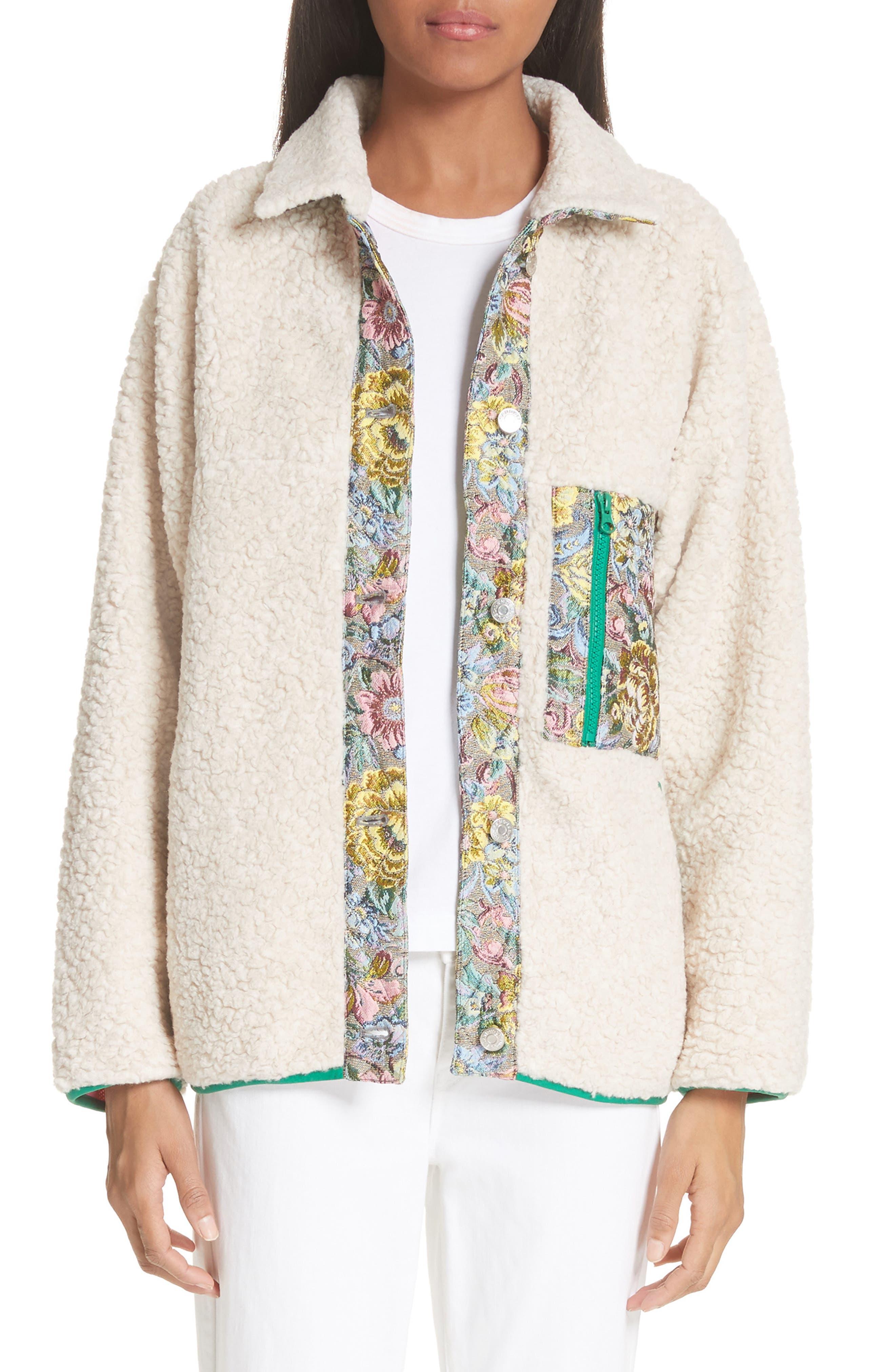 Bayside Floral Trim Fleece Jacket,                             Main thumbnail 1, color,                             Creamy