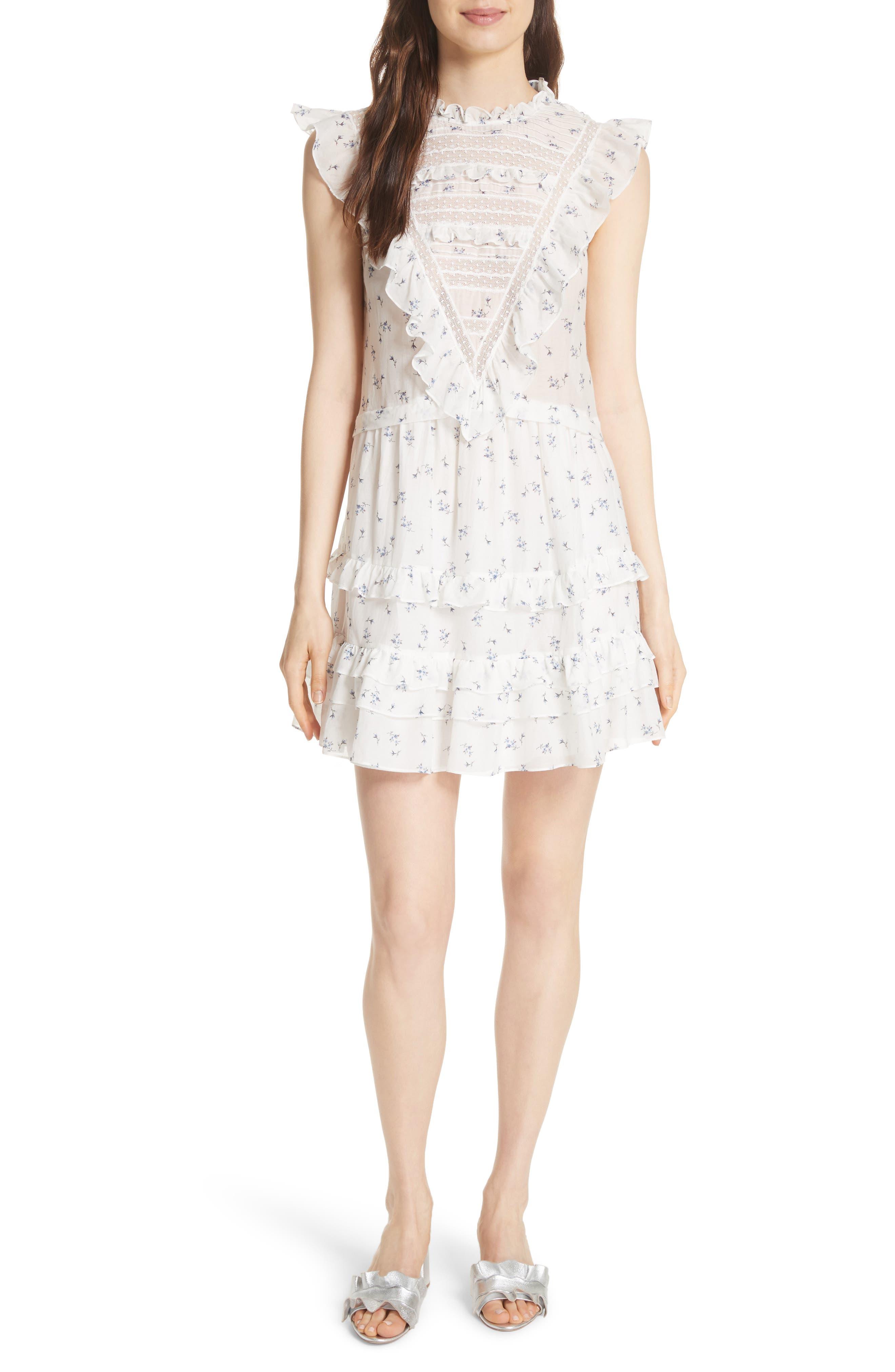 Floral Spring A-Line Dress,                         Main,                         color, Snow Combo