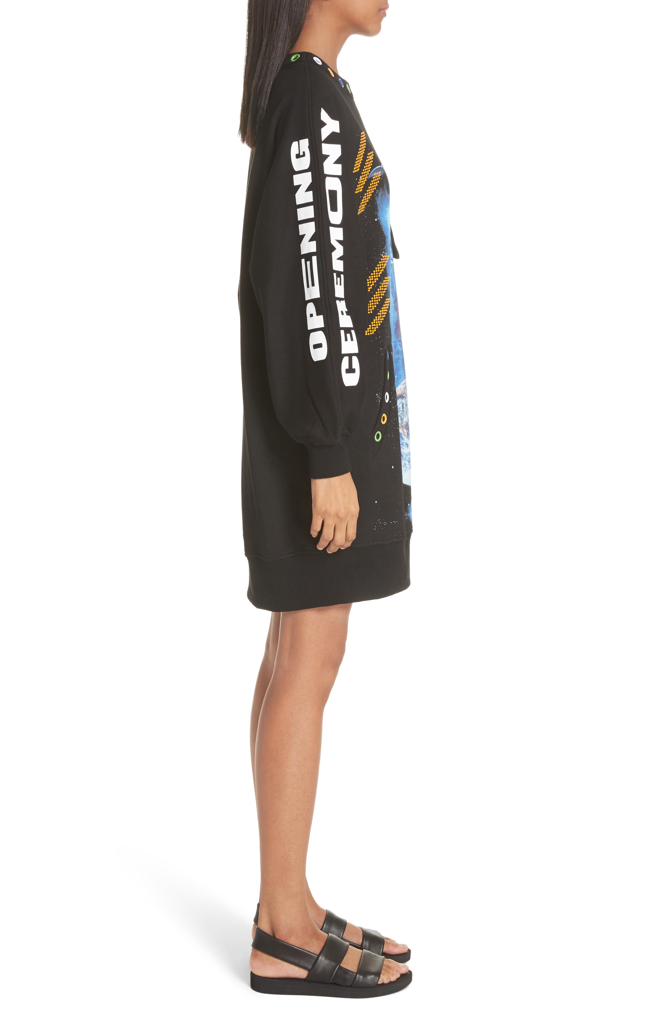 Christian Riese Lassen Sweatshirt Dress,                             Alternate thumbnail 3, color,                             Black