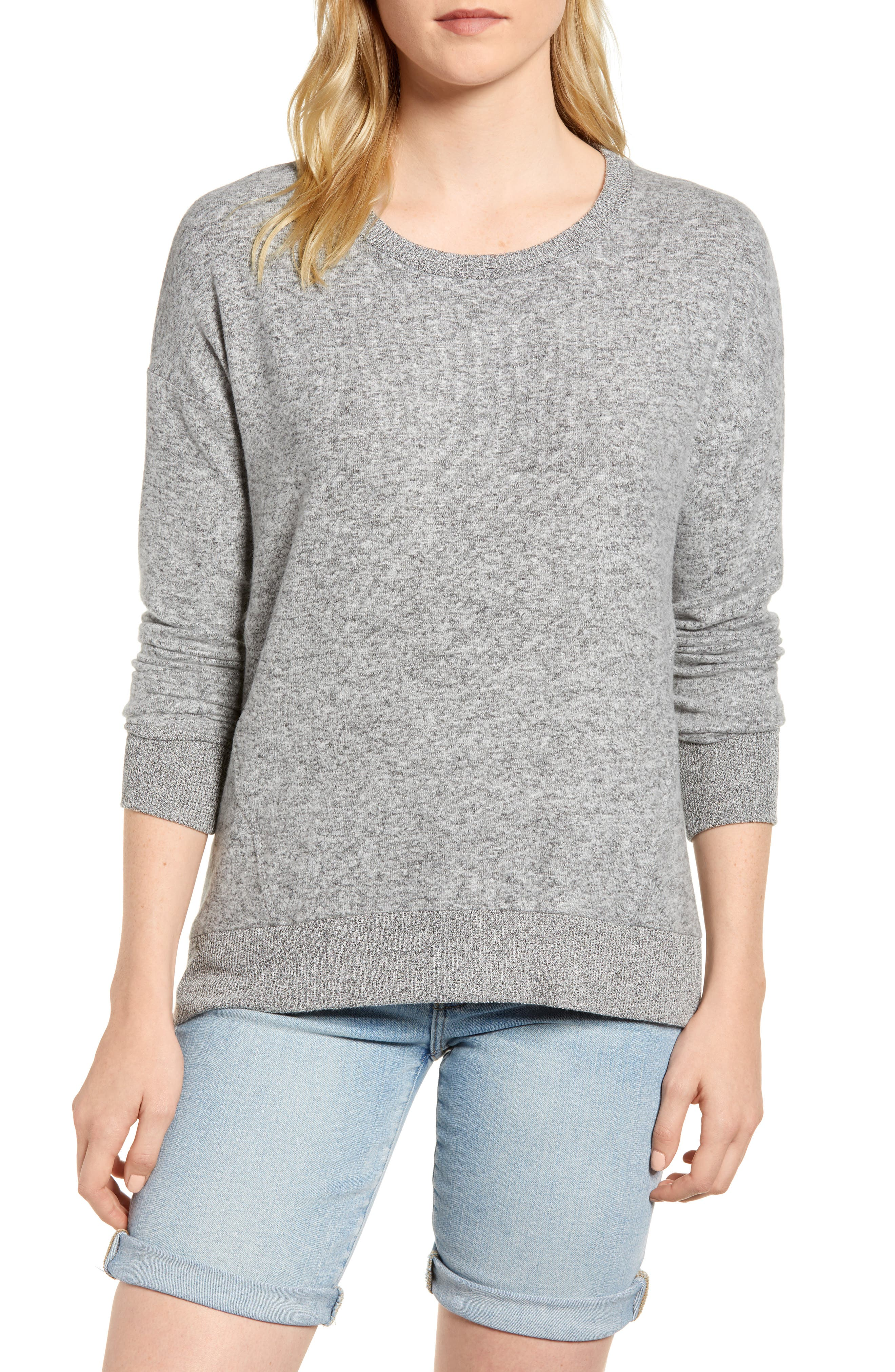 x Living in Yellow Chelsea Cozy Shirttail Sweater,                         Main,                         color, Heather Grey