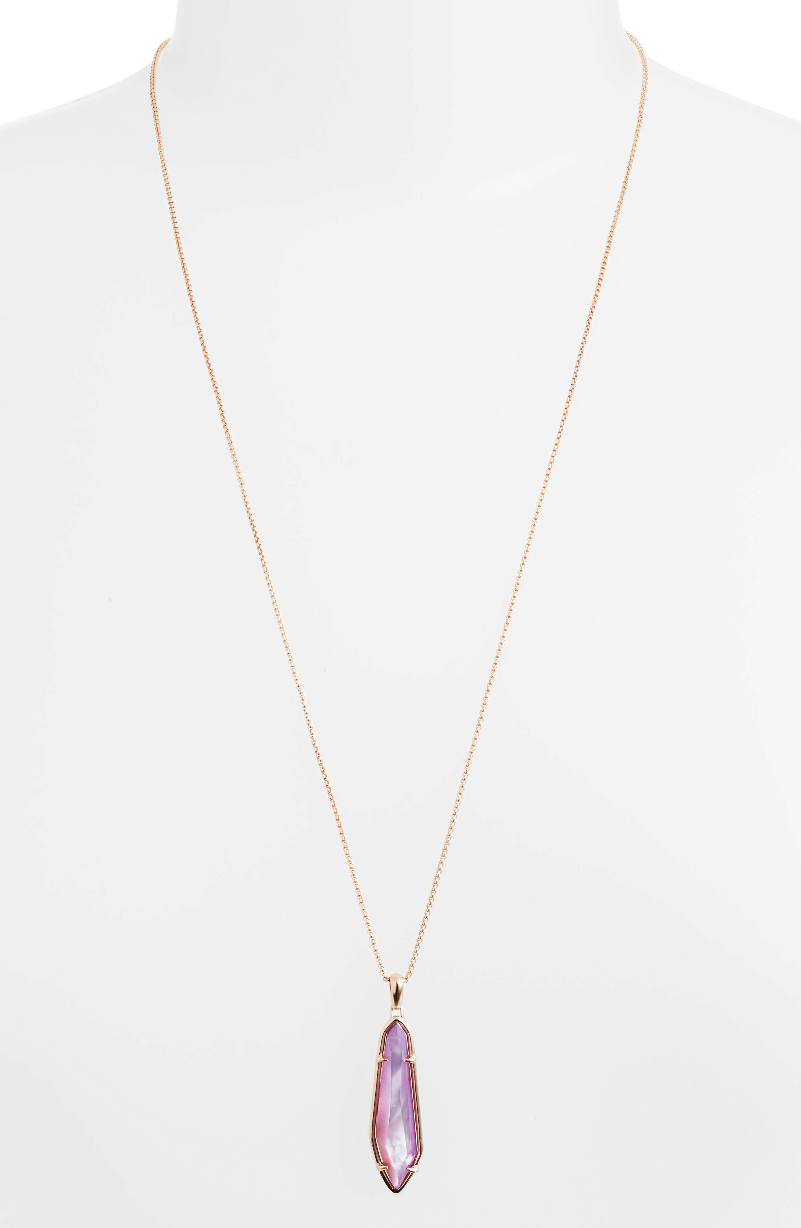 Cassidy Stone Necklace,                         Main,                         color, Lilac Mop/ Rose Gold