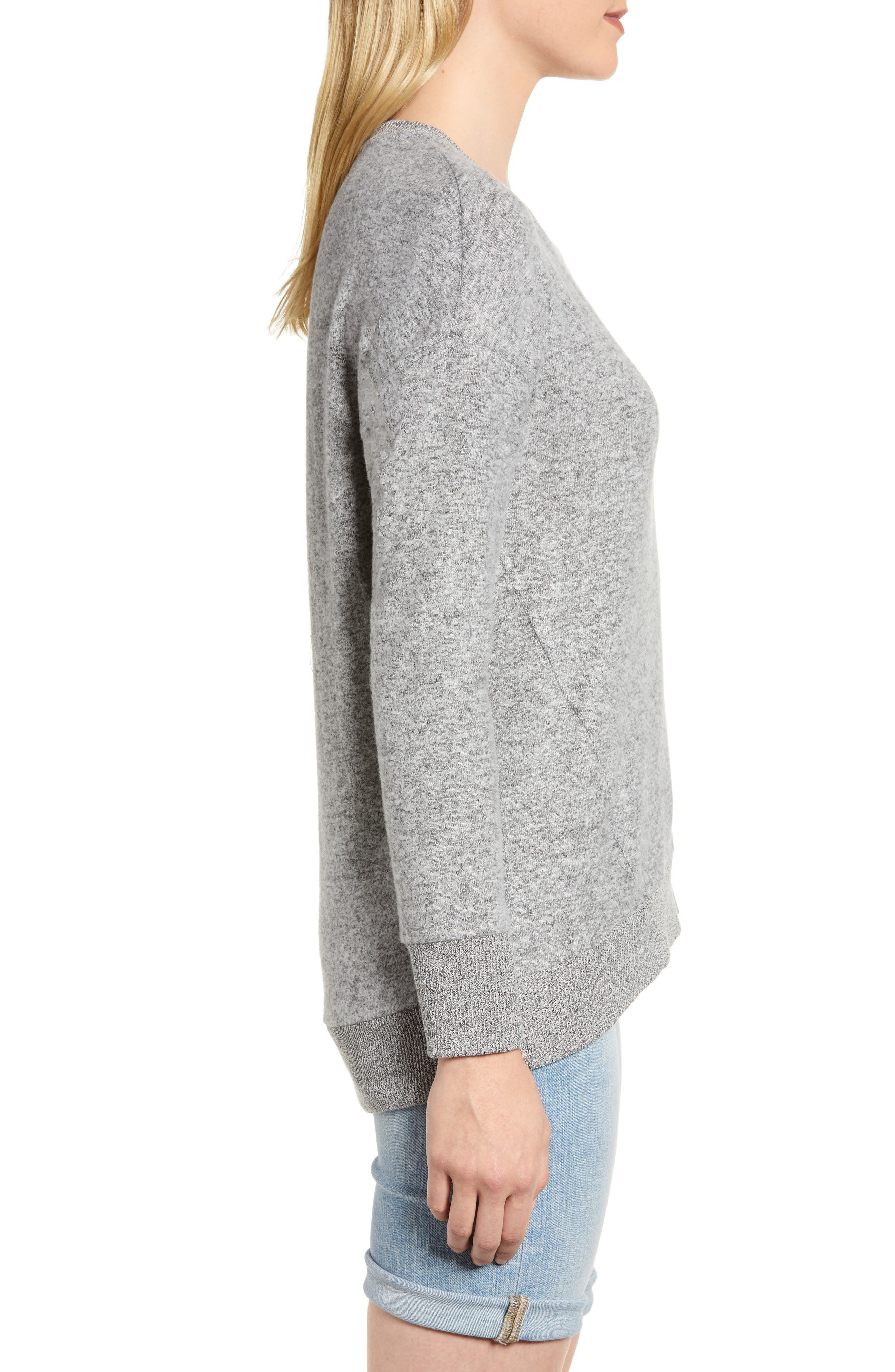 x Living in Yellow Chelsea Cozy Shirttail Sweater,                             Alternate thumbnail 4, color,                             Heather Grey