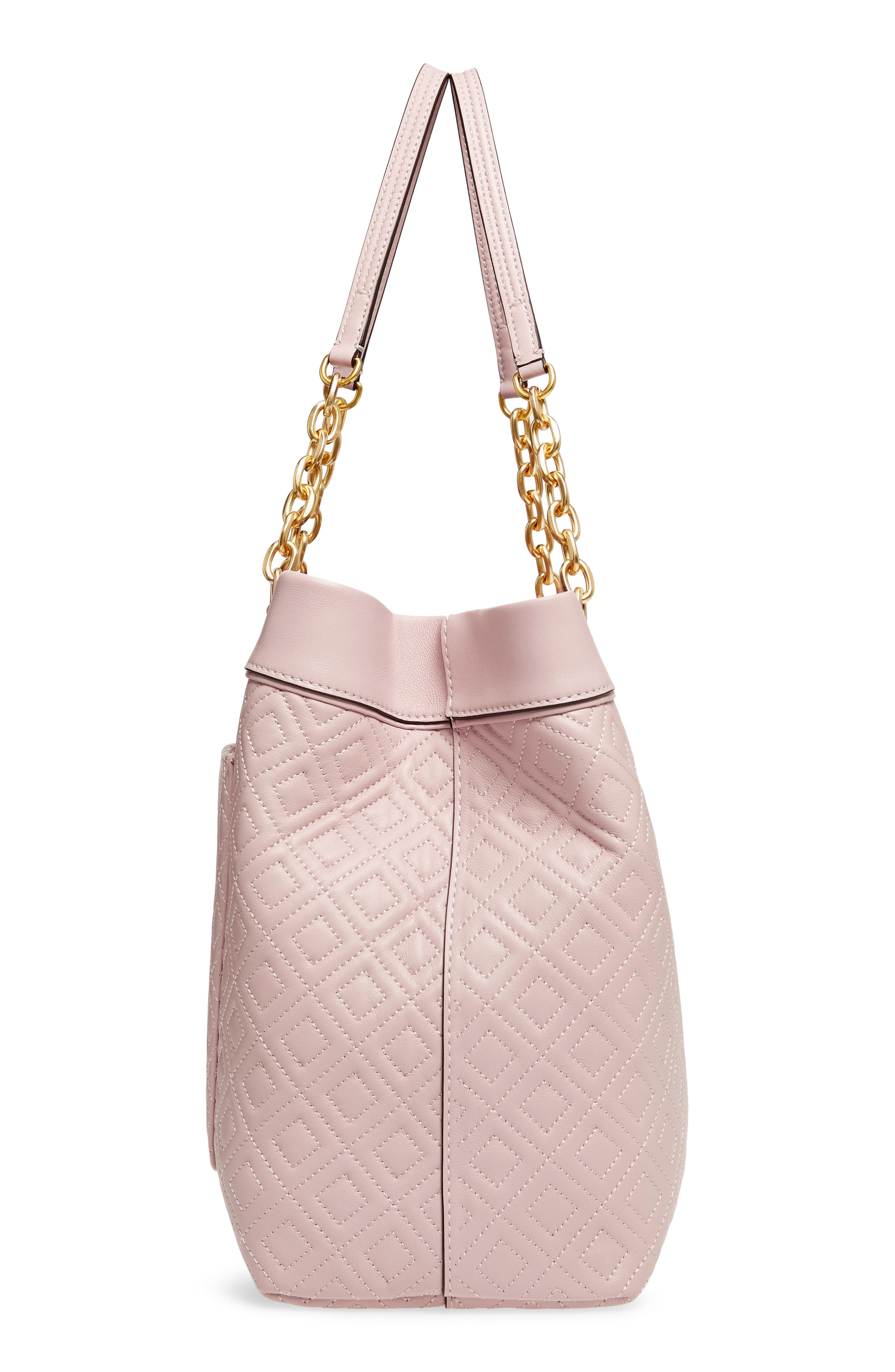 Fleming Triple Compartment Leather Tote,                             Alternate thumbnail 5, color,                             Shell Pink