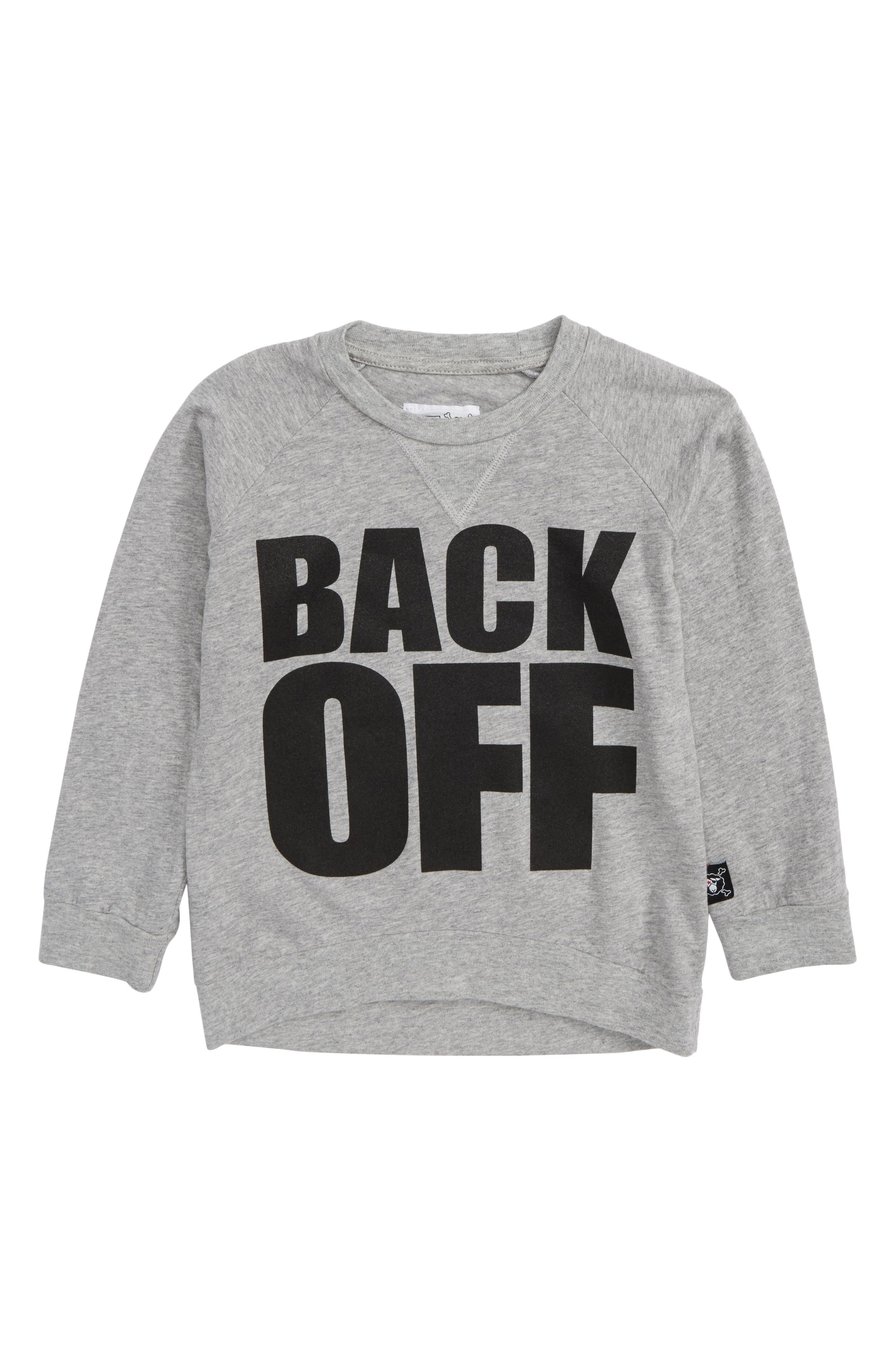 Back Off Graphic T-Shirt,                             Main thumbnail 1, color,                             Heather Grey
