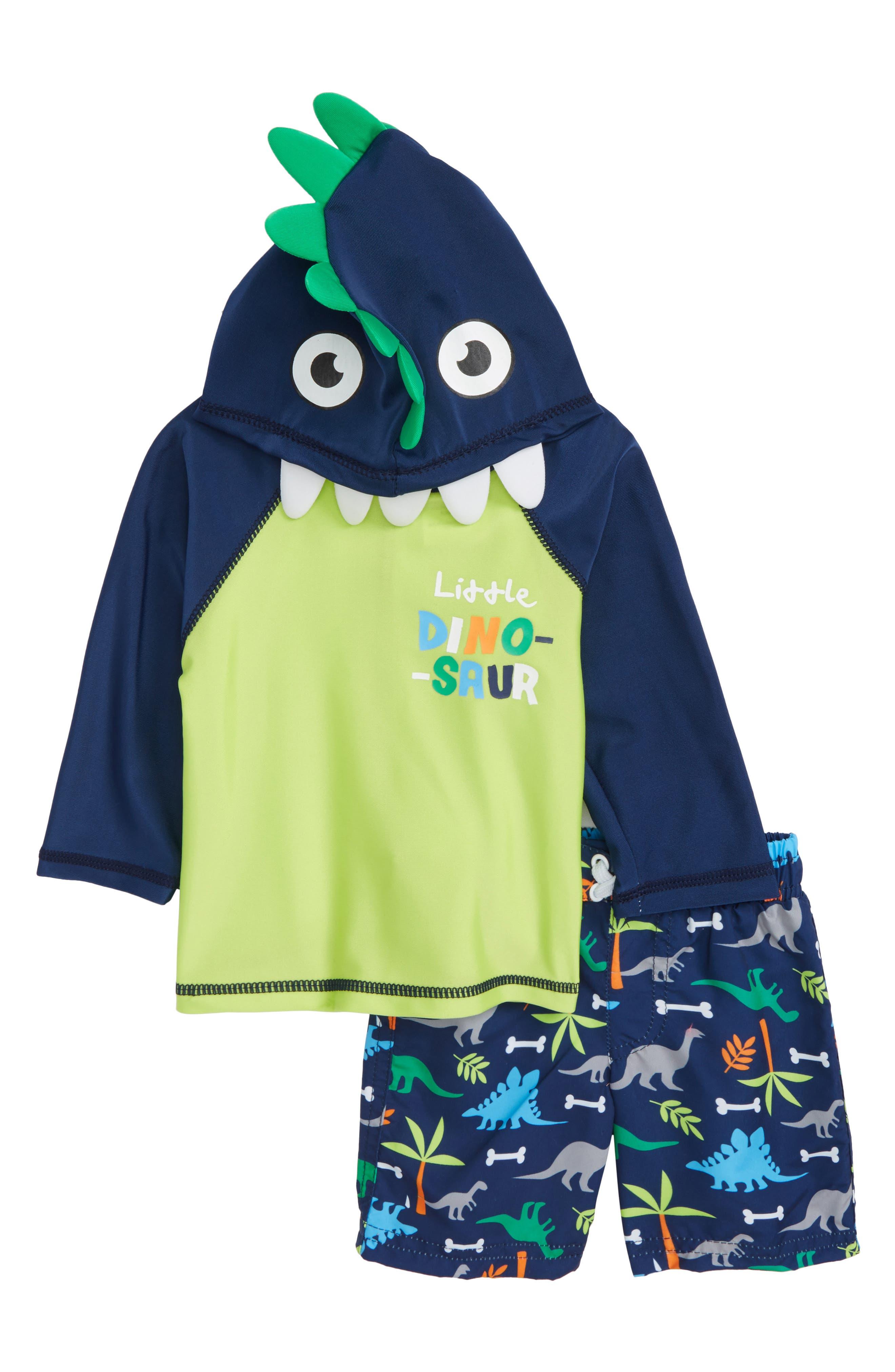 Little Dino Hooded Rashguard & Board Shorts Set,                             Main thumbnail 1, color,                             Navy