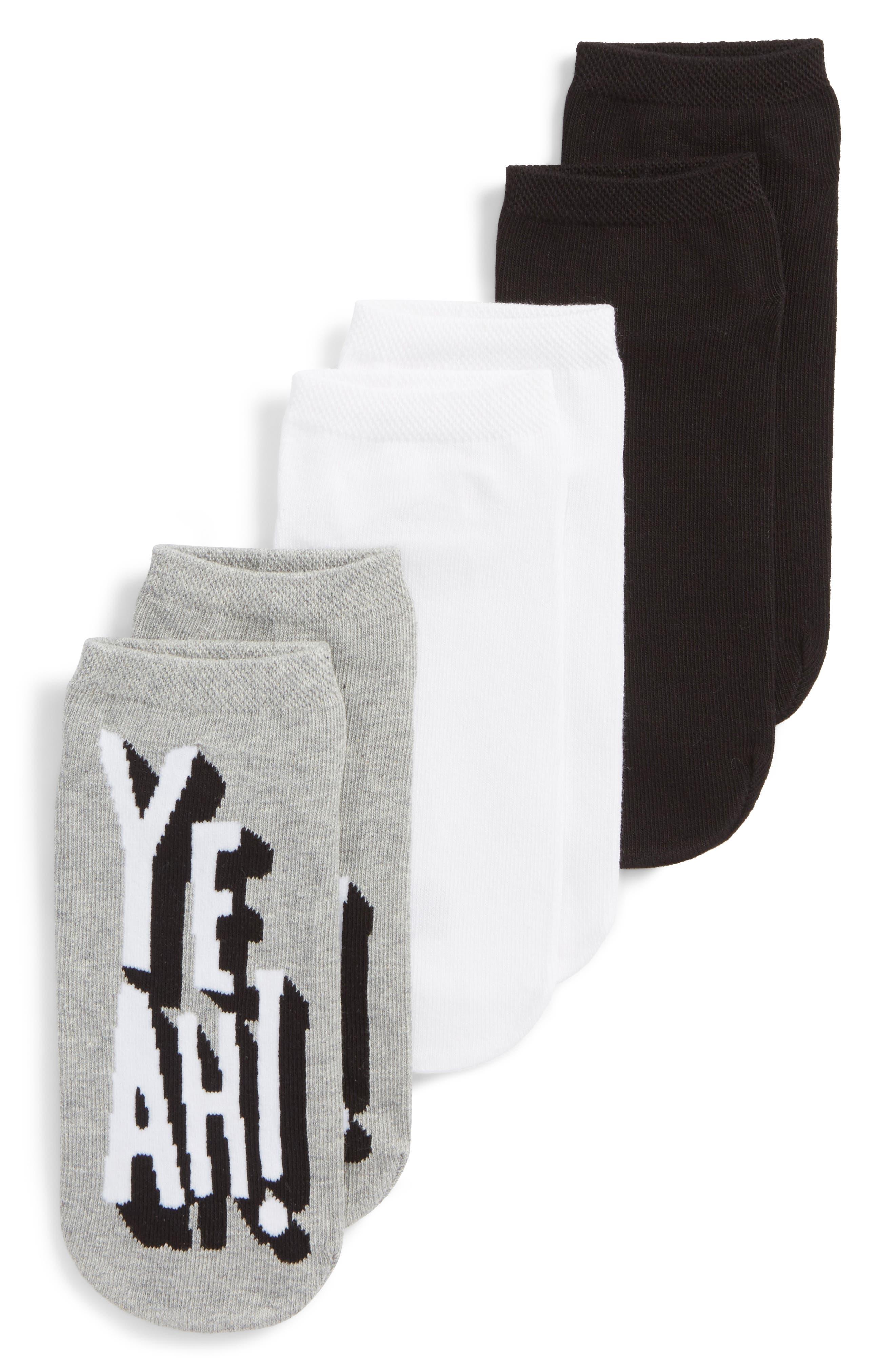 Yeah Footsie 3-Pack Socks,                             Main thumbnail 1, color,                             Light Charcoal Heather
