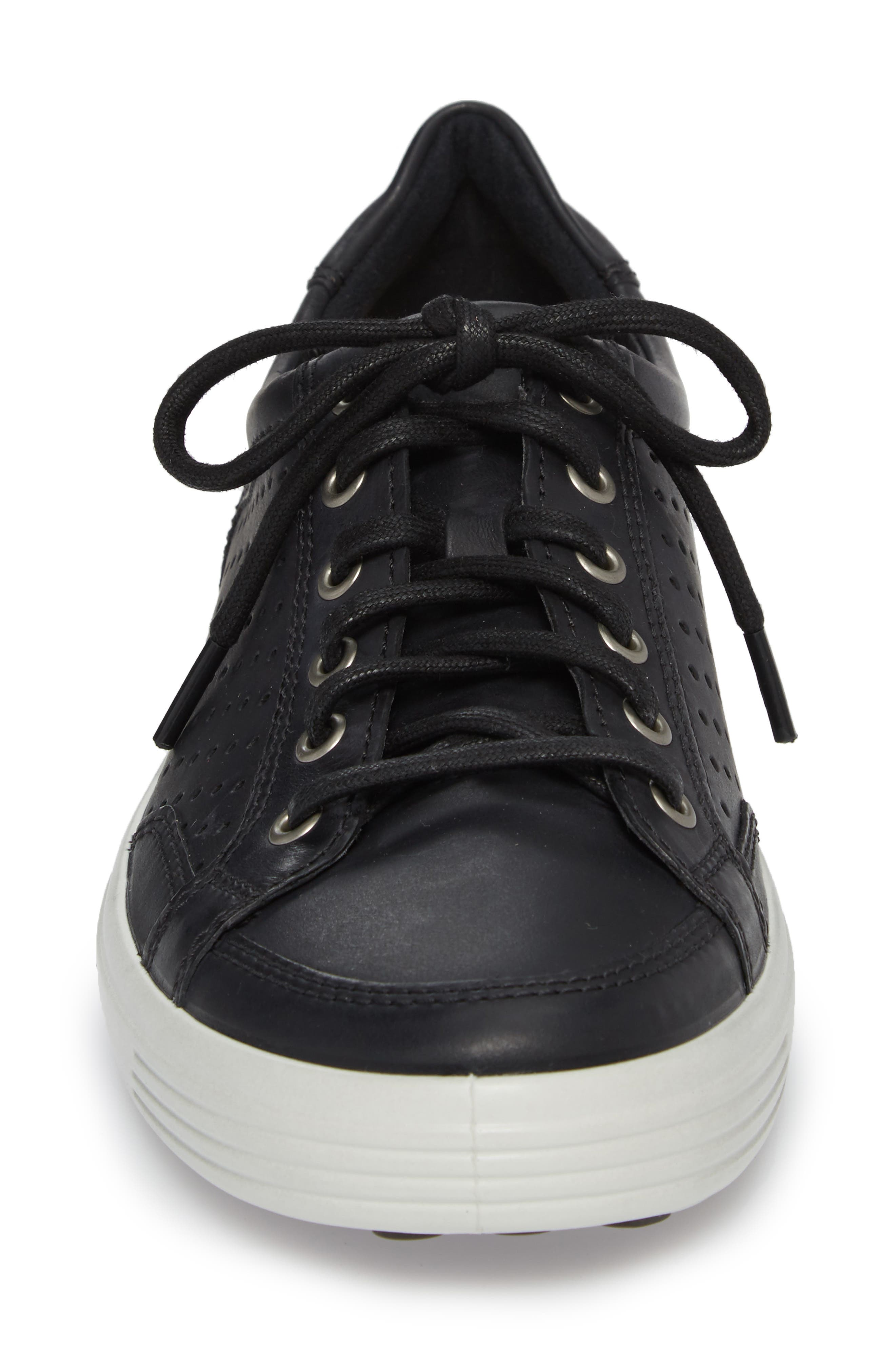Soft 7 Retro Perforated Low Top Sneaker,                             Alternate thumbnail 4, color,                             Black Leather