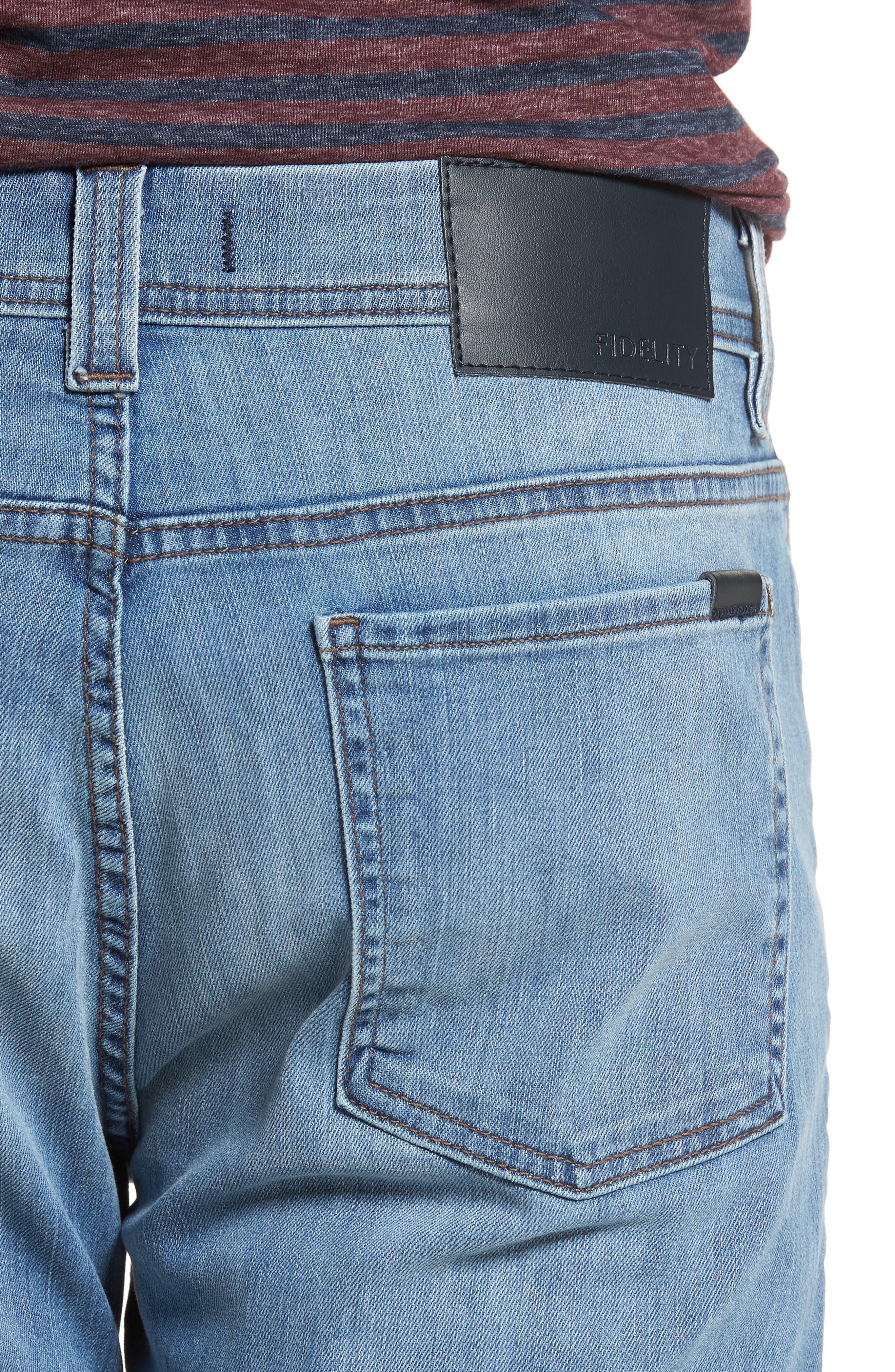 Jimmy Slim Straight Fit Jeans,                             Alternate thumbnail 4, color,                             Brixton Blue