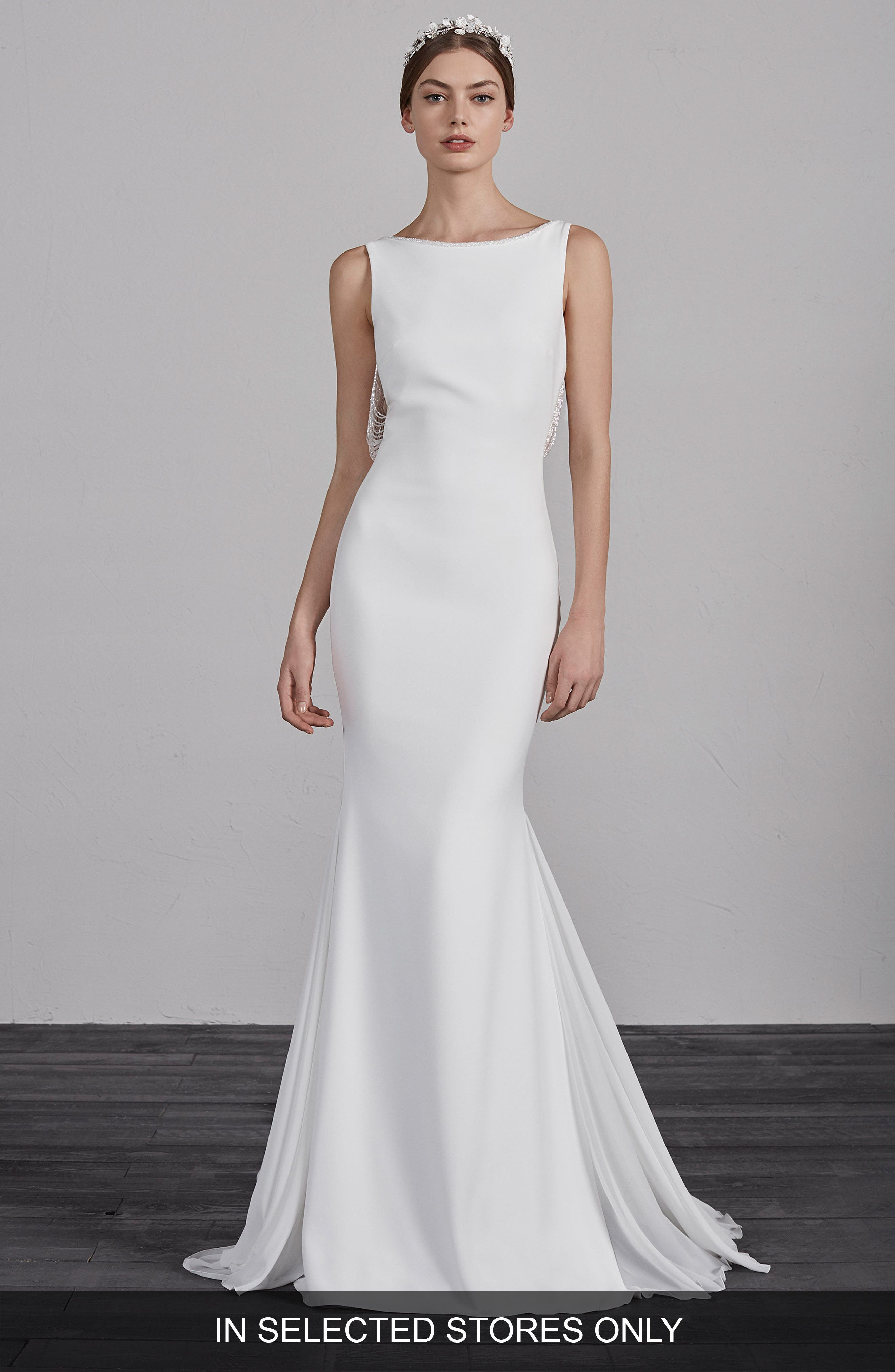 Pronovias Eol Beaded String Back Mermaid Gown