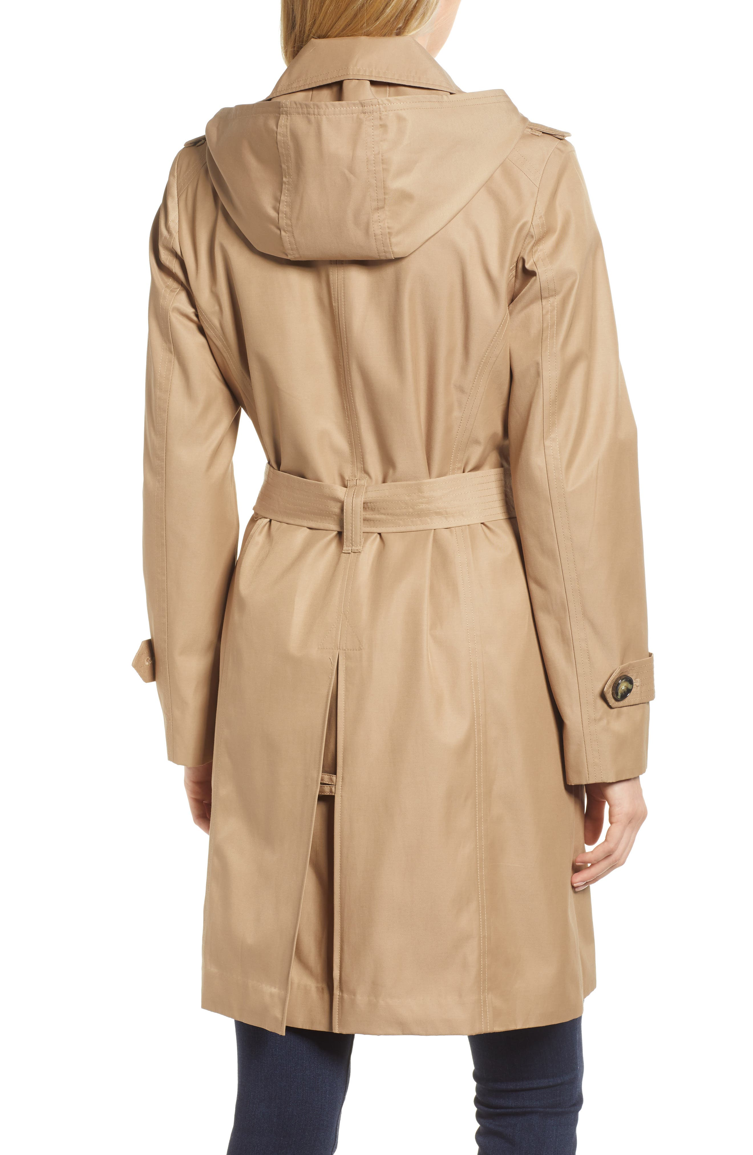 Double Breasted Trench Coat,                             Alternate thumbnail 2, color,                             Br Khaki