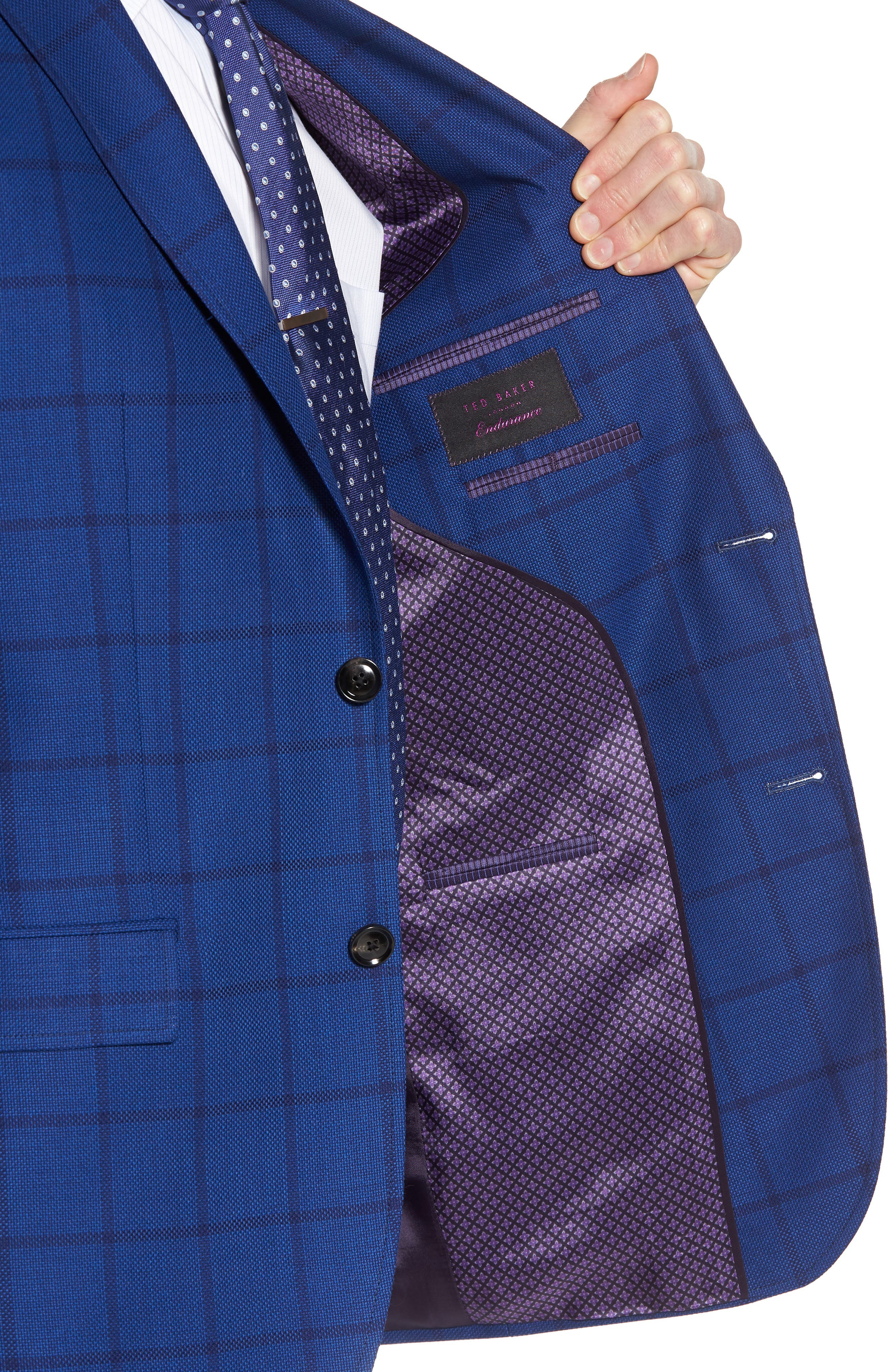 Jay Trim Fit Windowpane Wool Sport Coat,                             Alternate thumbnail 4, color,                             Blue