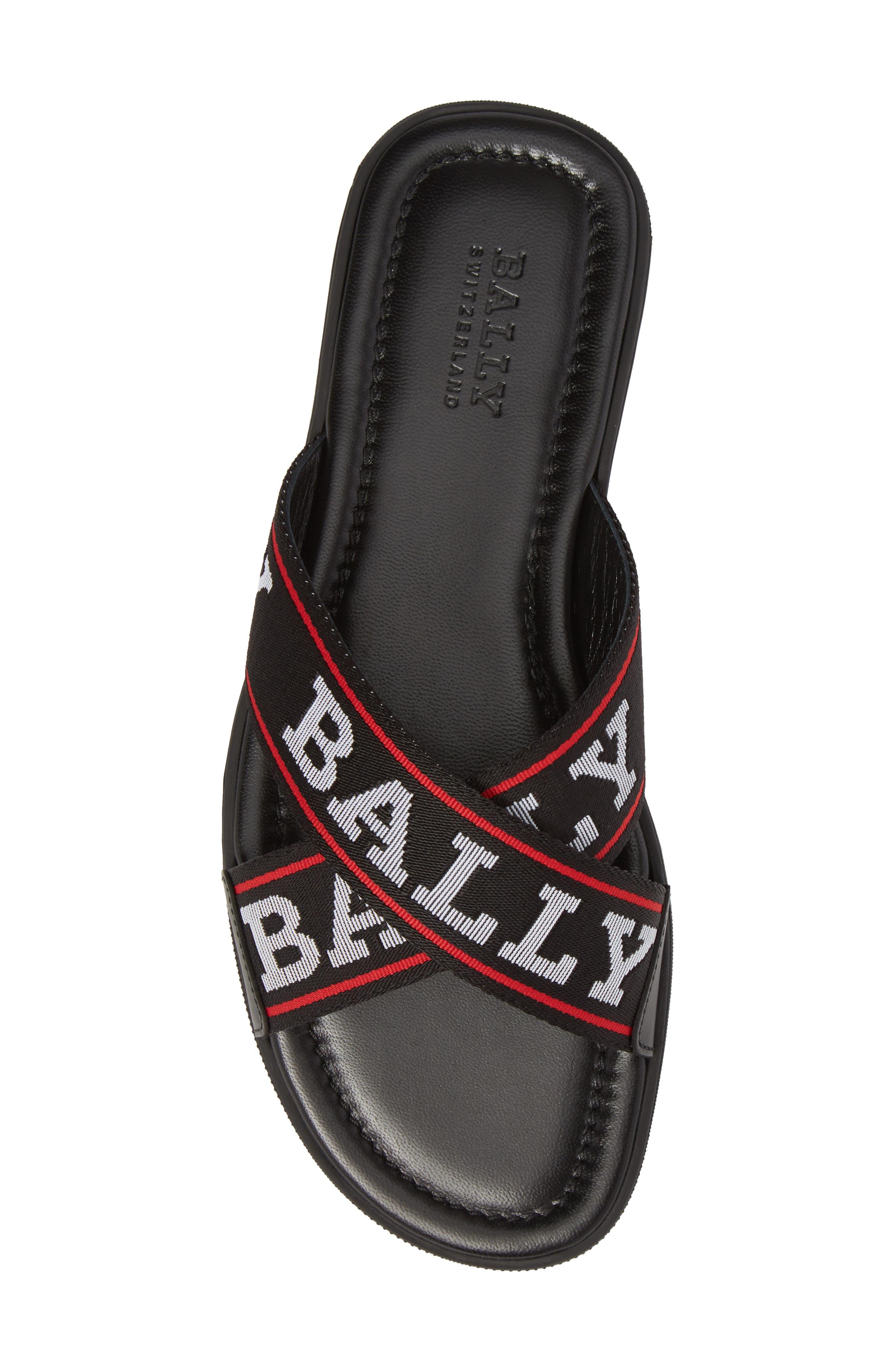 Bonks Logo Slide Sandal,                             Alternate thumbnail 5, color,                             Black/ Bone/ Red