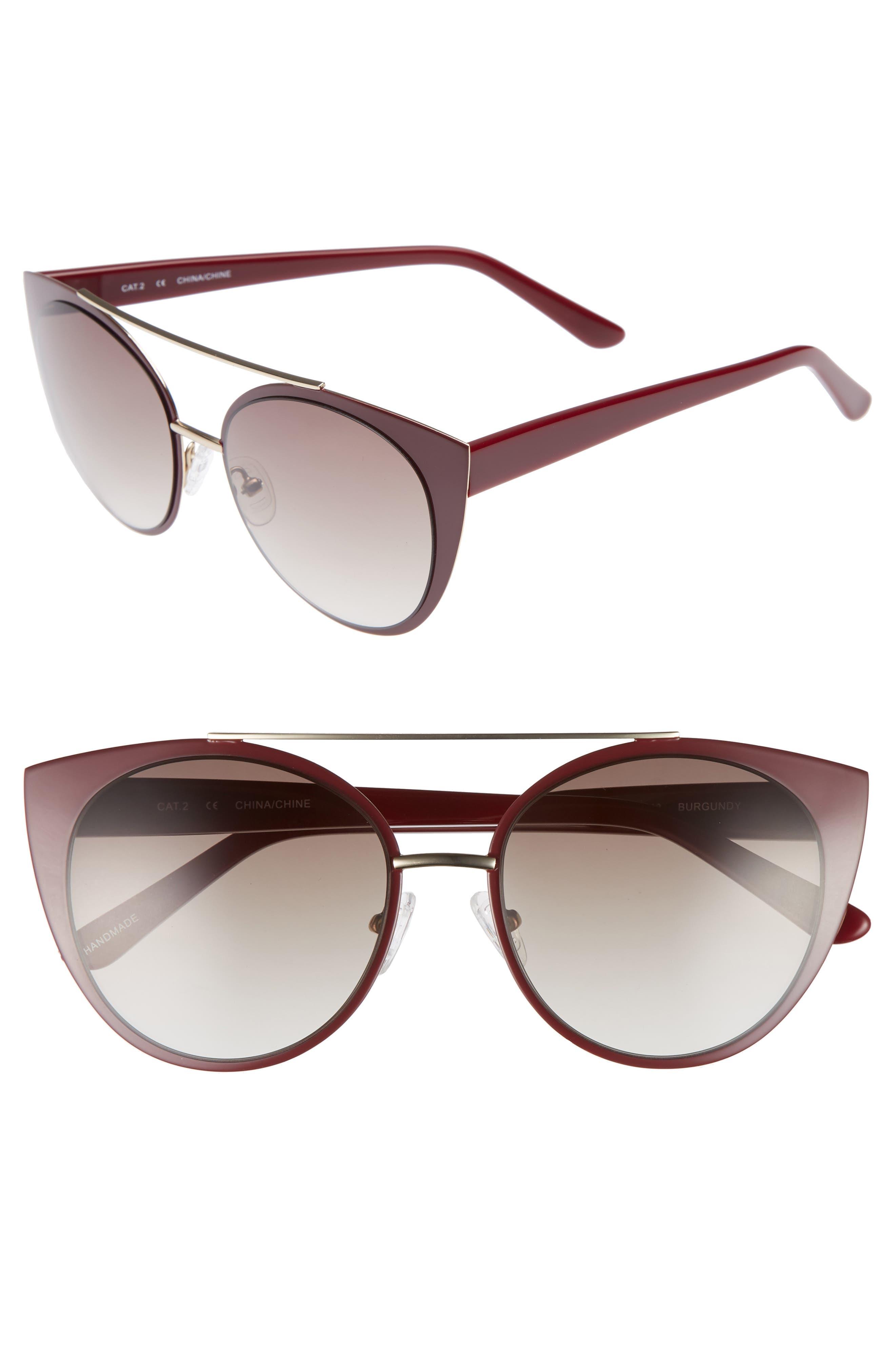 Amelia 53mm Aviator Sunglasses,                         Main,                         color, Burgundy