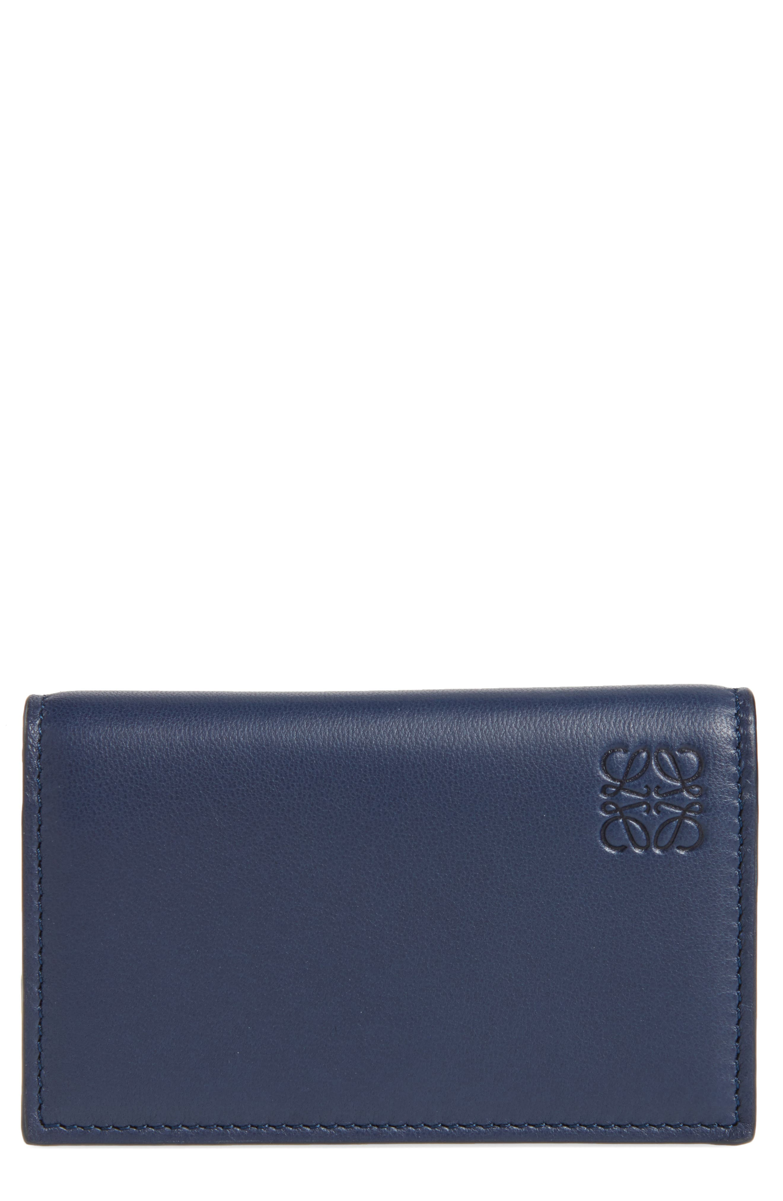 Calfskin Leather Business Card Case,                         Main,                         color, Navy
