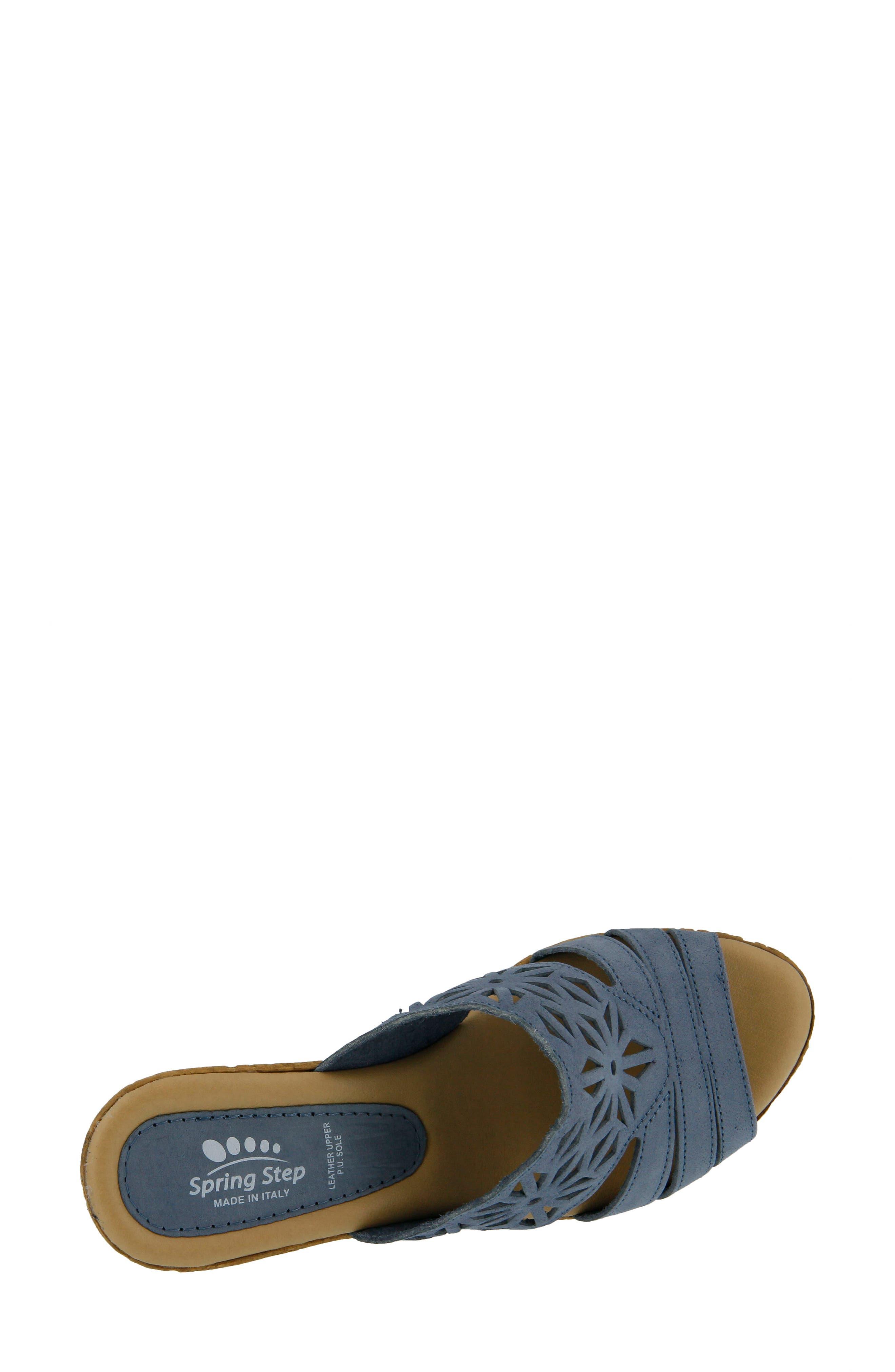 Dora Wedge Sandal,                             Alternate thumbnail 4, color,                             Blue Nubuck