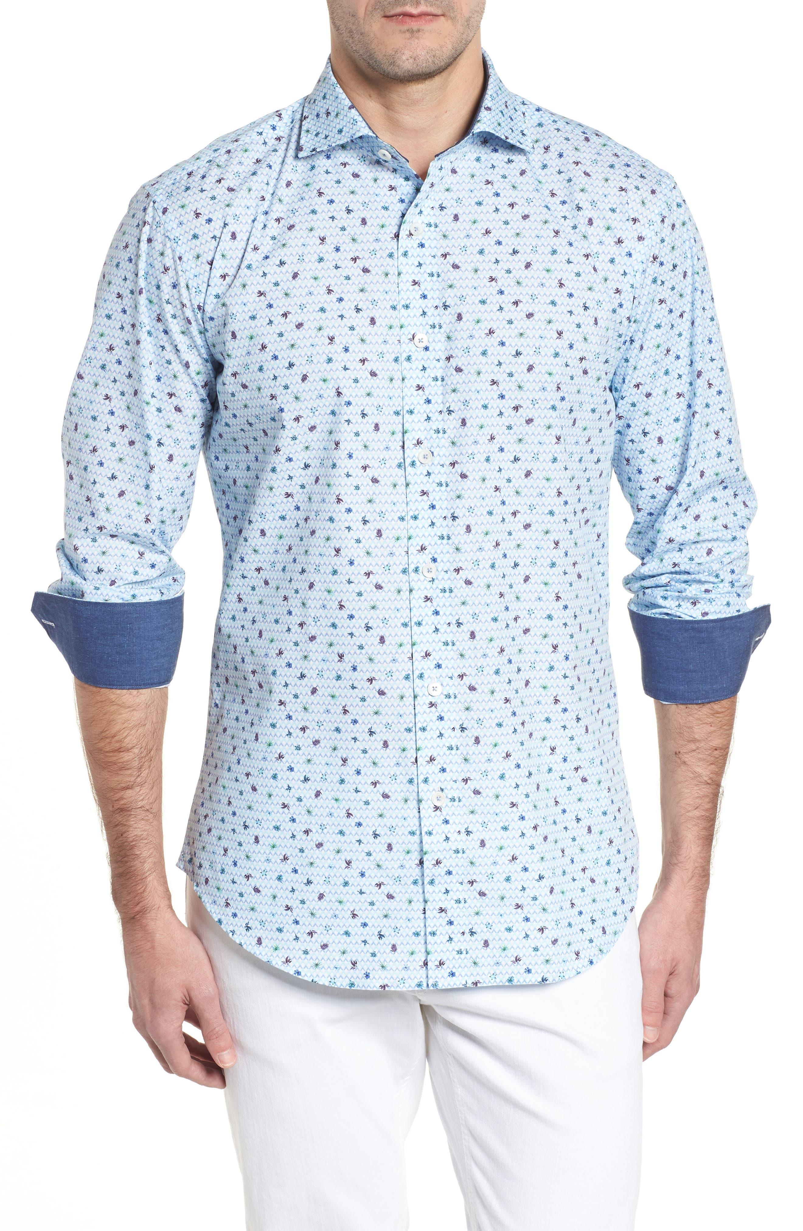 Bugatchi Shaped Fit Zigzag Floral Sport Shirt