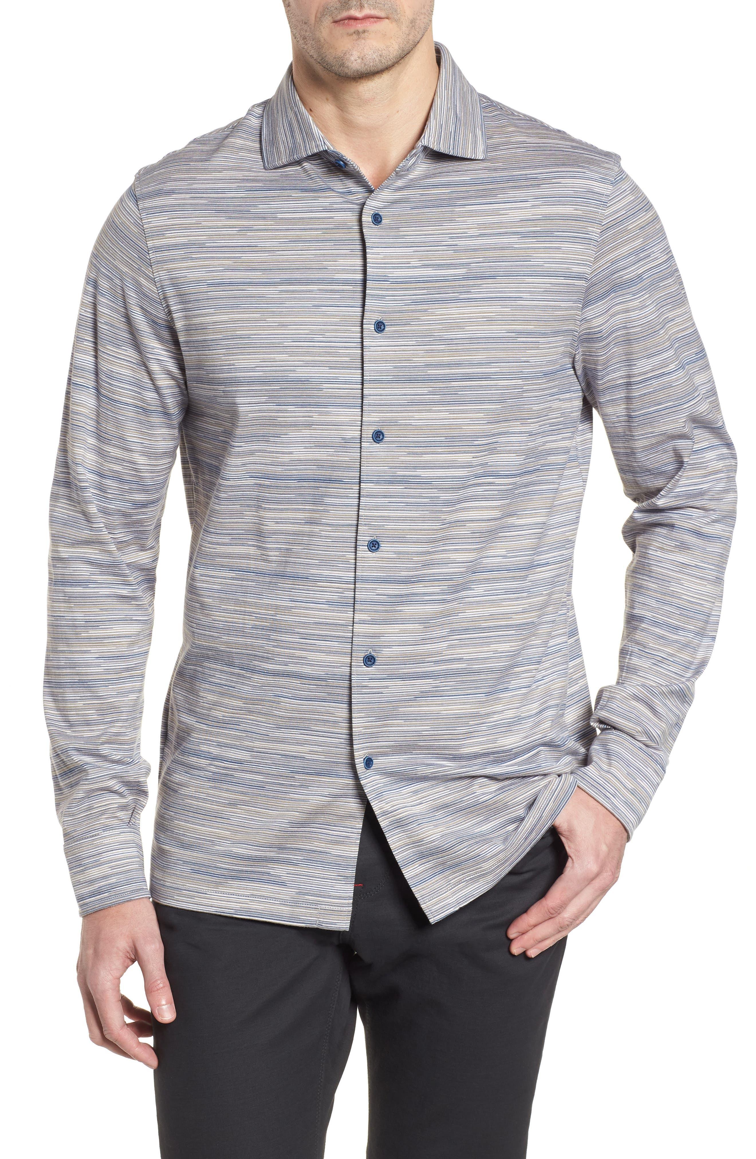 Regular Fit Striated Knit Sport Shirt,                             Main thumbnail 1, color,                             Sand