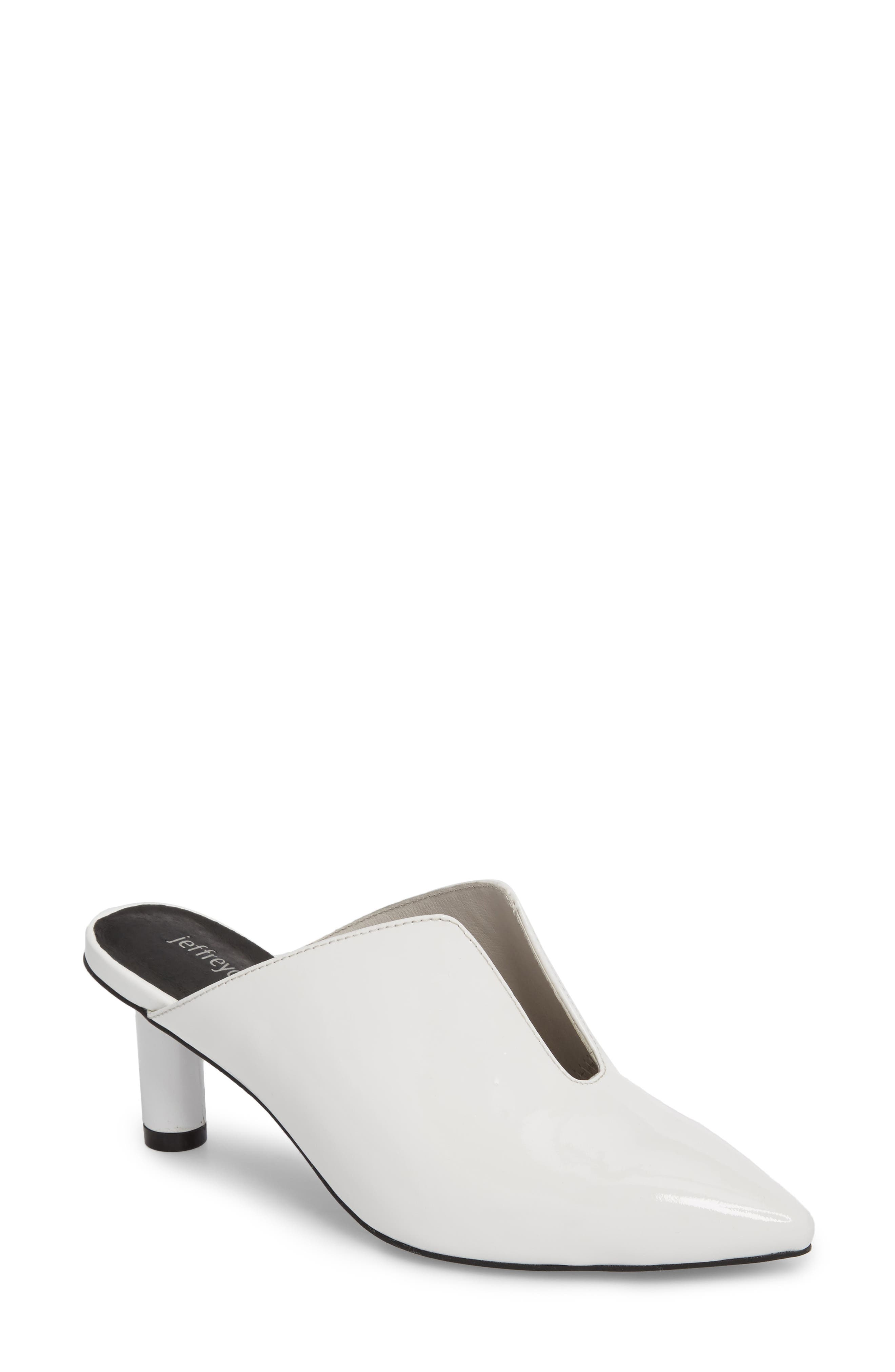 Saltaire Pointy Toe Mule,                             Main thumbnail 1, color,                             White Patent Leather