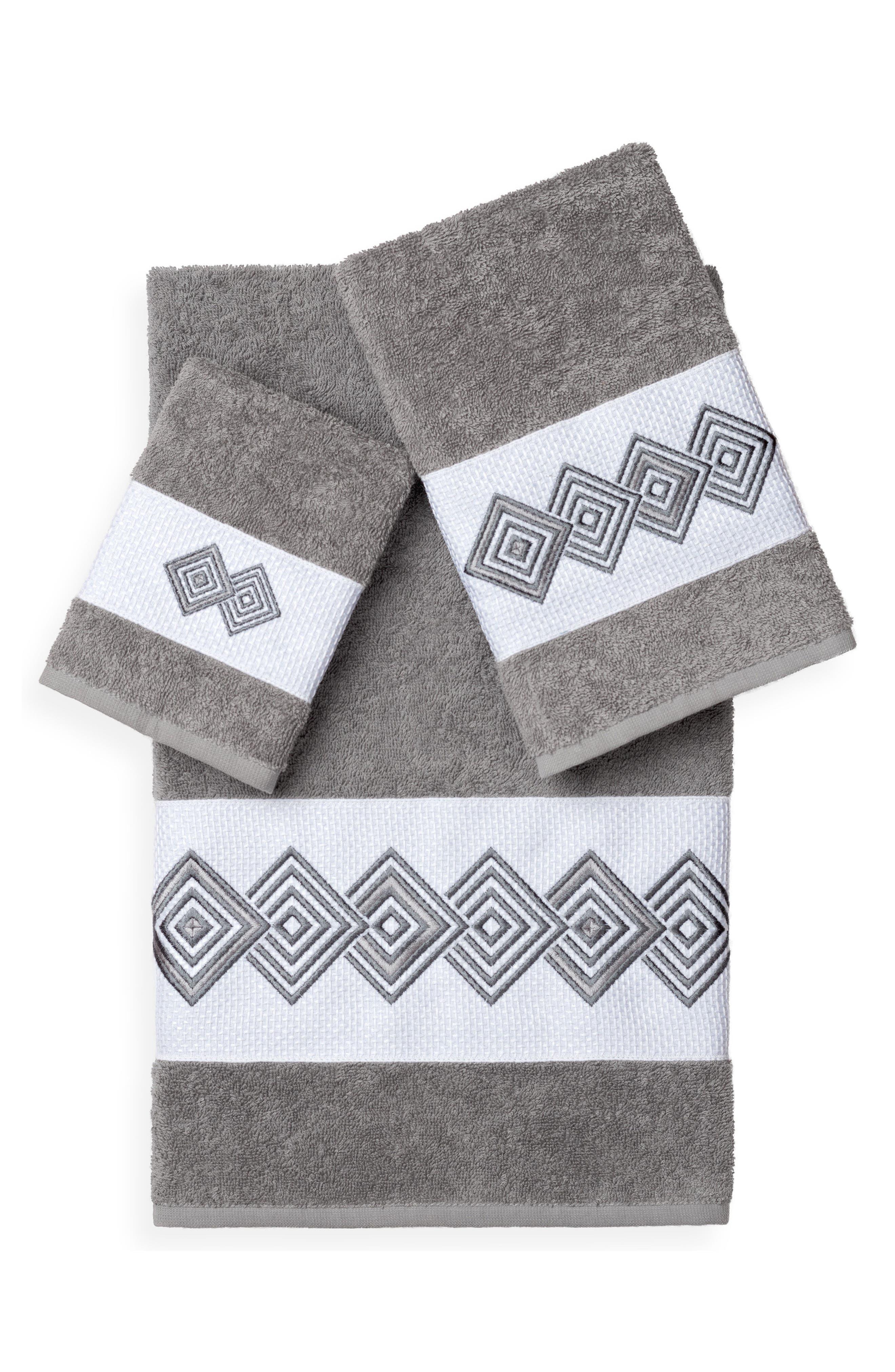 Noah 3-Piece Turkish Cotton Towel Set,                             Main thumbnail 1, color,                             Dark Grey